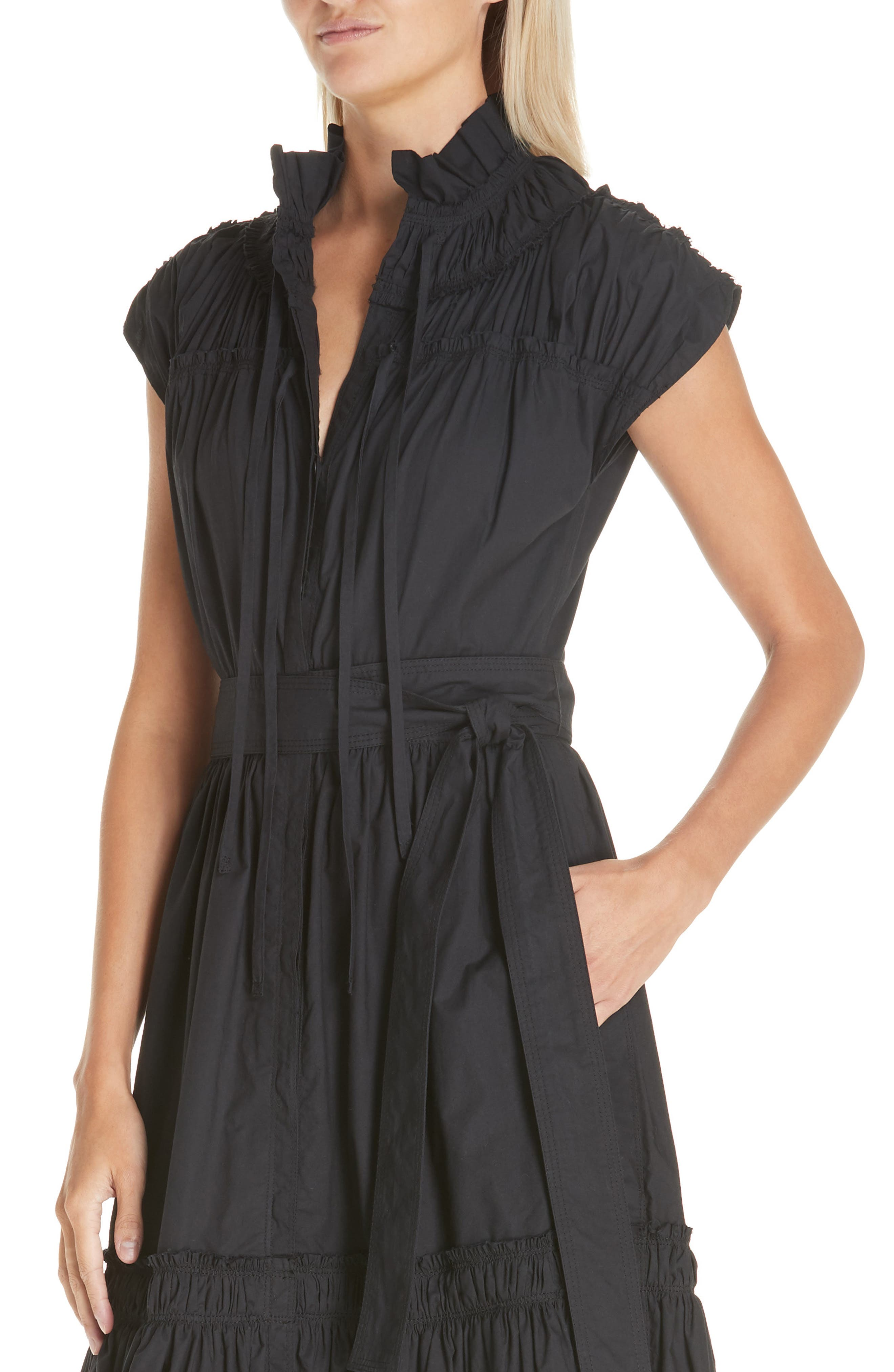 PROENZA SCHOULER, Smocked Poplin Dress, Alternate thumbnail 5, color, BLACK