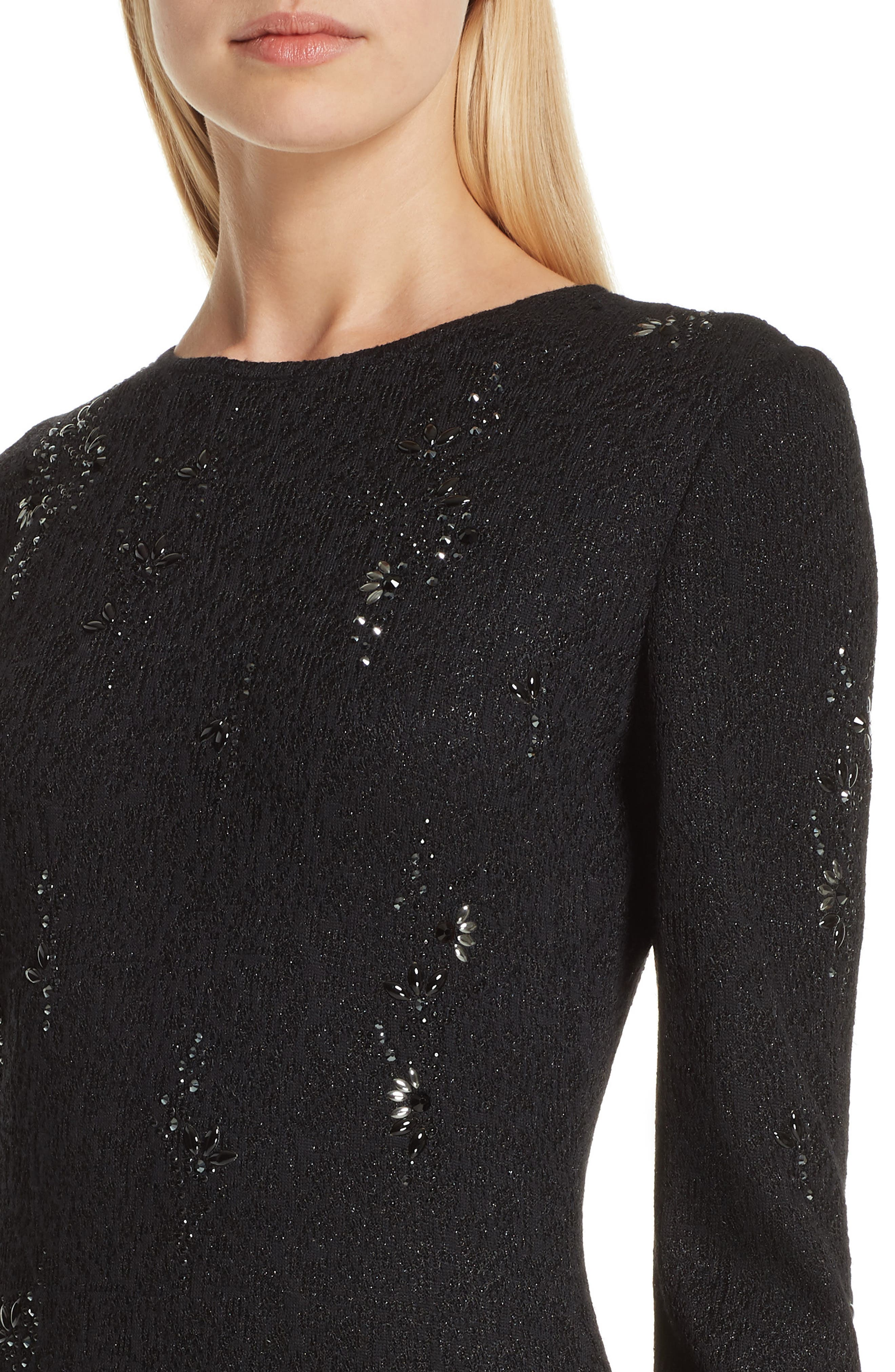 ST. JOHN COLLECTION, Lace Overlay Jacquard Knit Gown, Alternate thumbnail 4, color, CAVIAR