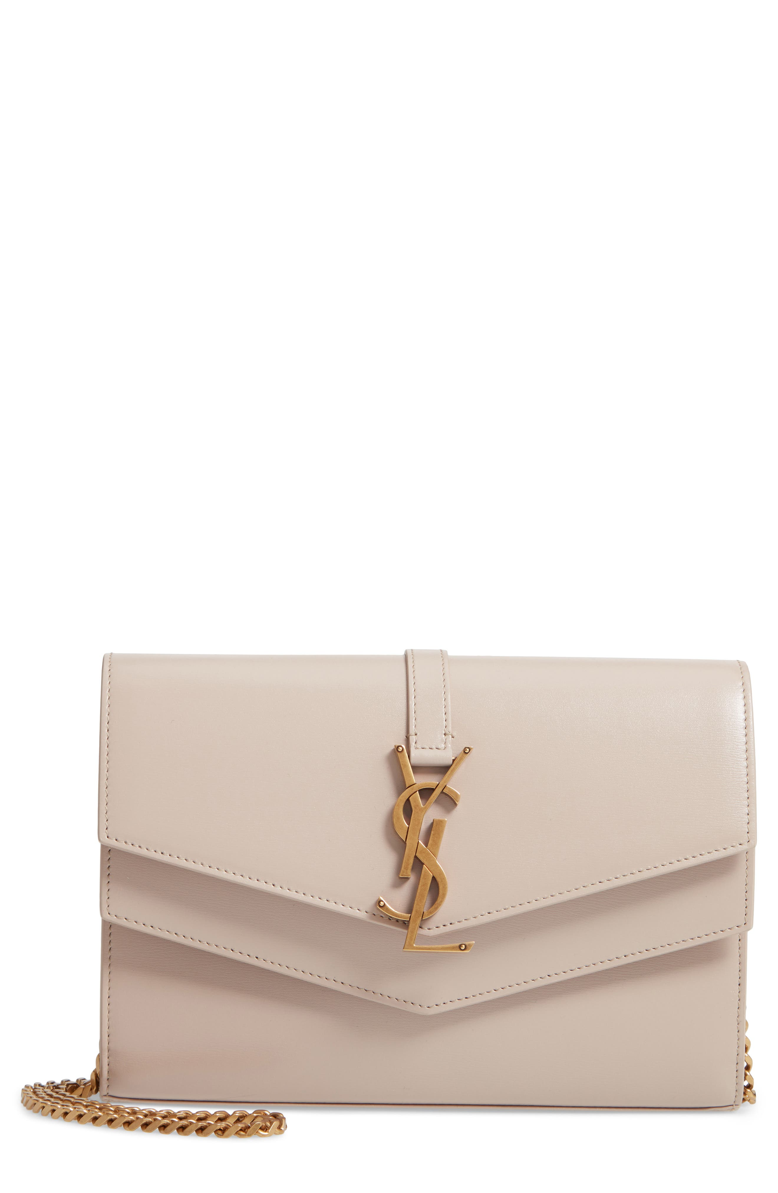 SAINT LAURENT, Sulpice Leather Crossbody Wallet, Main thumbnail 1, color, LIGHT NATURAL