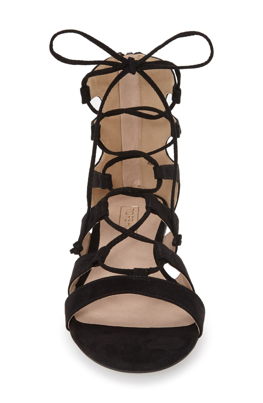TOPSHOP, Lace-Up Gladiator Sandal, Alternate thumbnail 4, color, 001