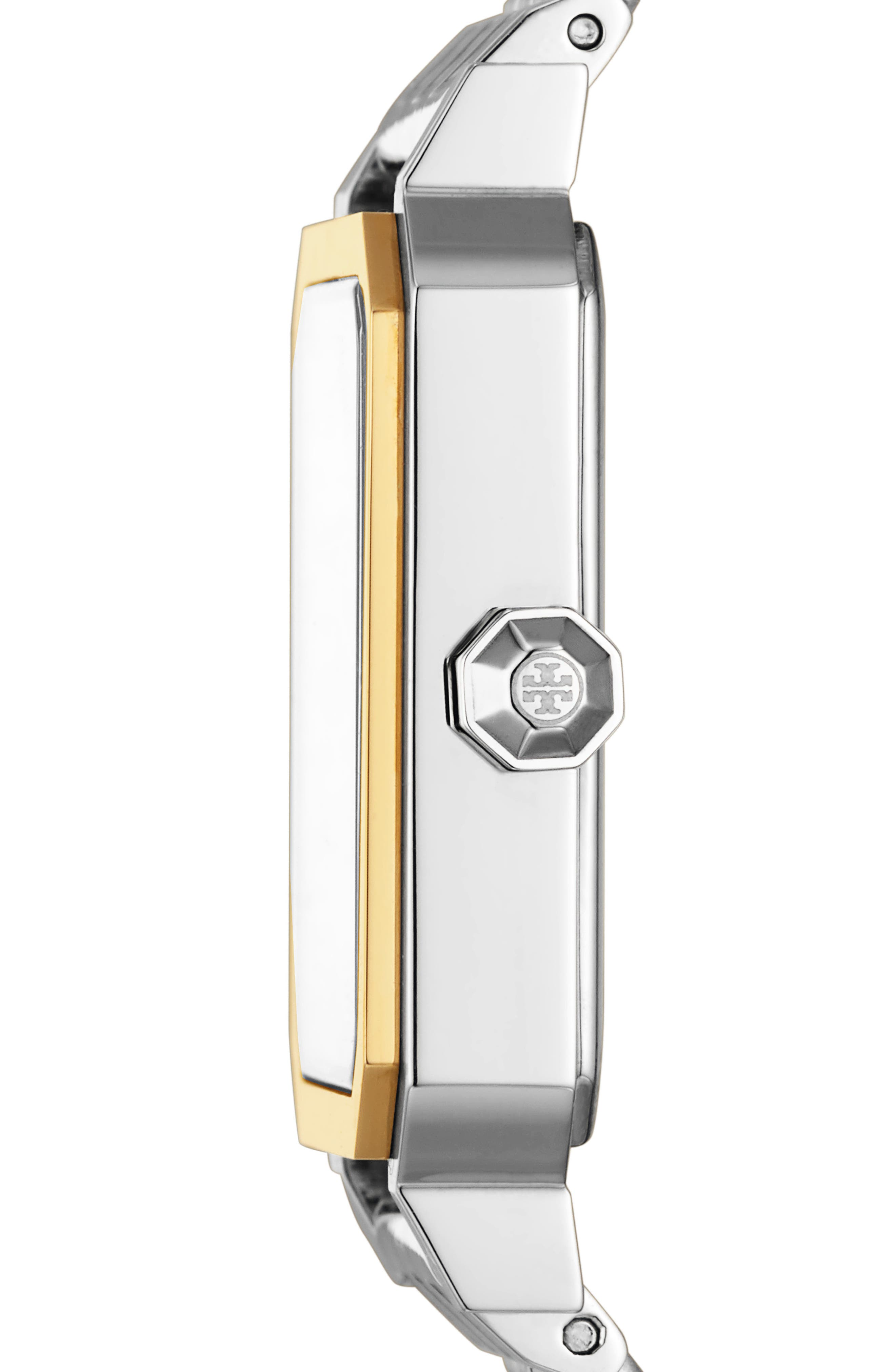 TORY BURCH, Robinson Mesh Bracelet Watch, 27mm x 29mm, Alternate thumbnail 2, color, SILVER/ WHITE/ GOLD