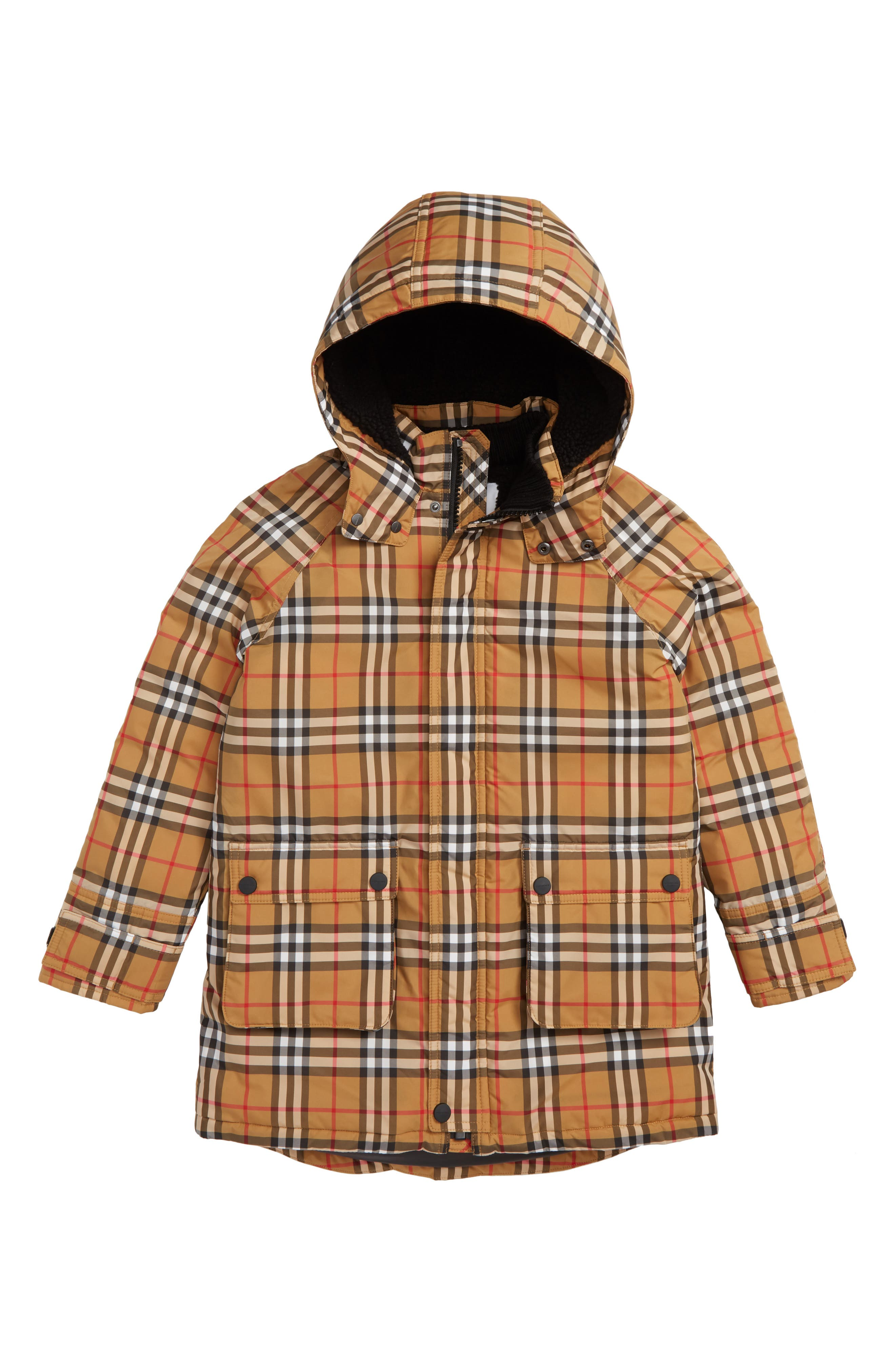 BURBERRY Check Waterproof Down Puffer Jacket, Main, color, 701