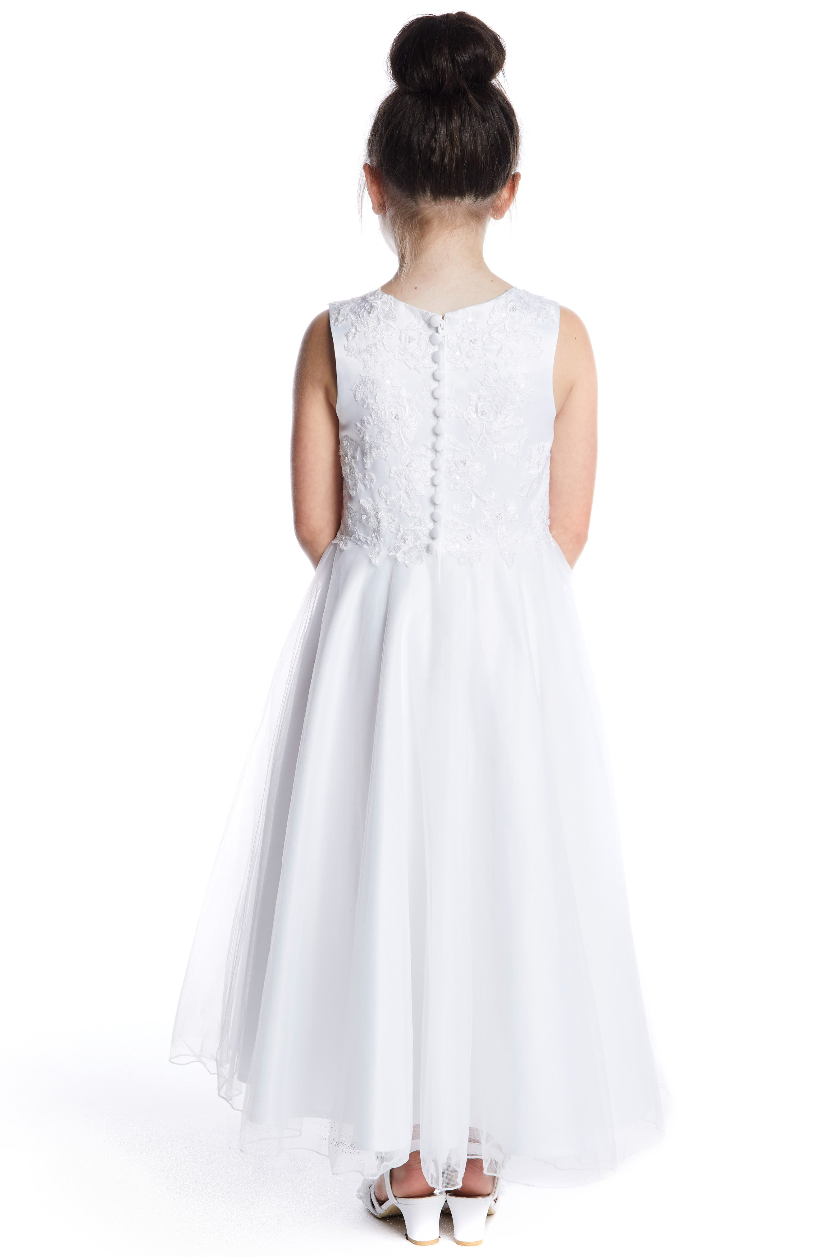 LAUREN MARIE, Embroidered Bodice Tulle Dress, Alternate thumbnail 3, color, WHITE