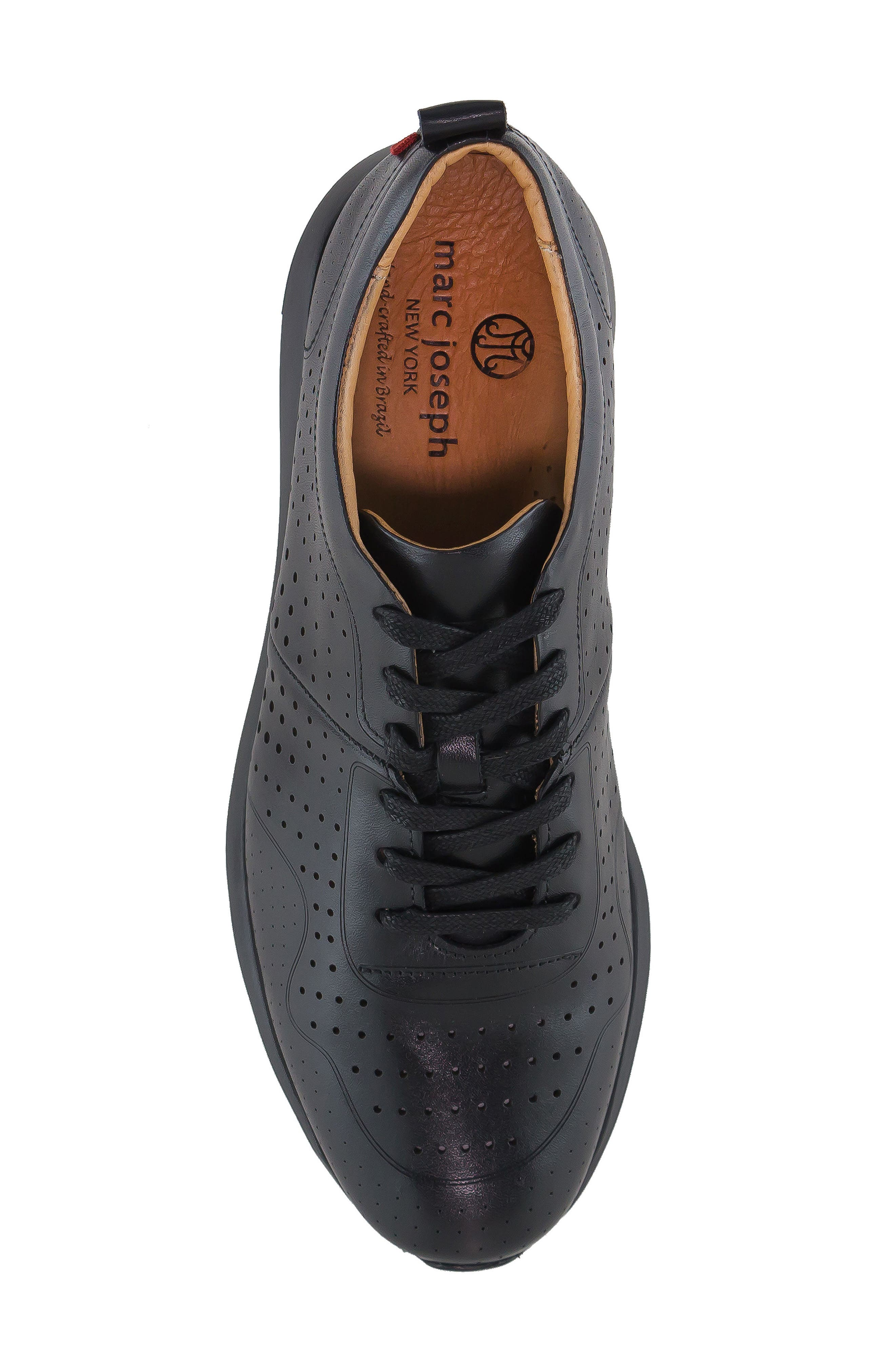 MARC JOSEPH NEW YORK, Grand Central Perforated Sneaker, Alternate thumbnail 5, color, BLACK