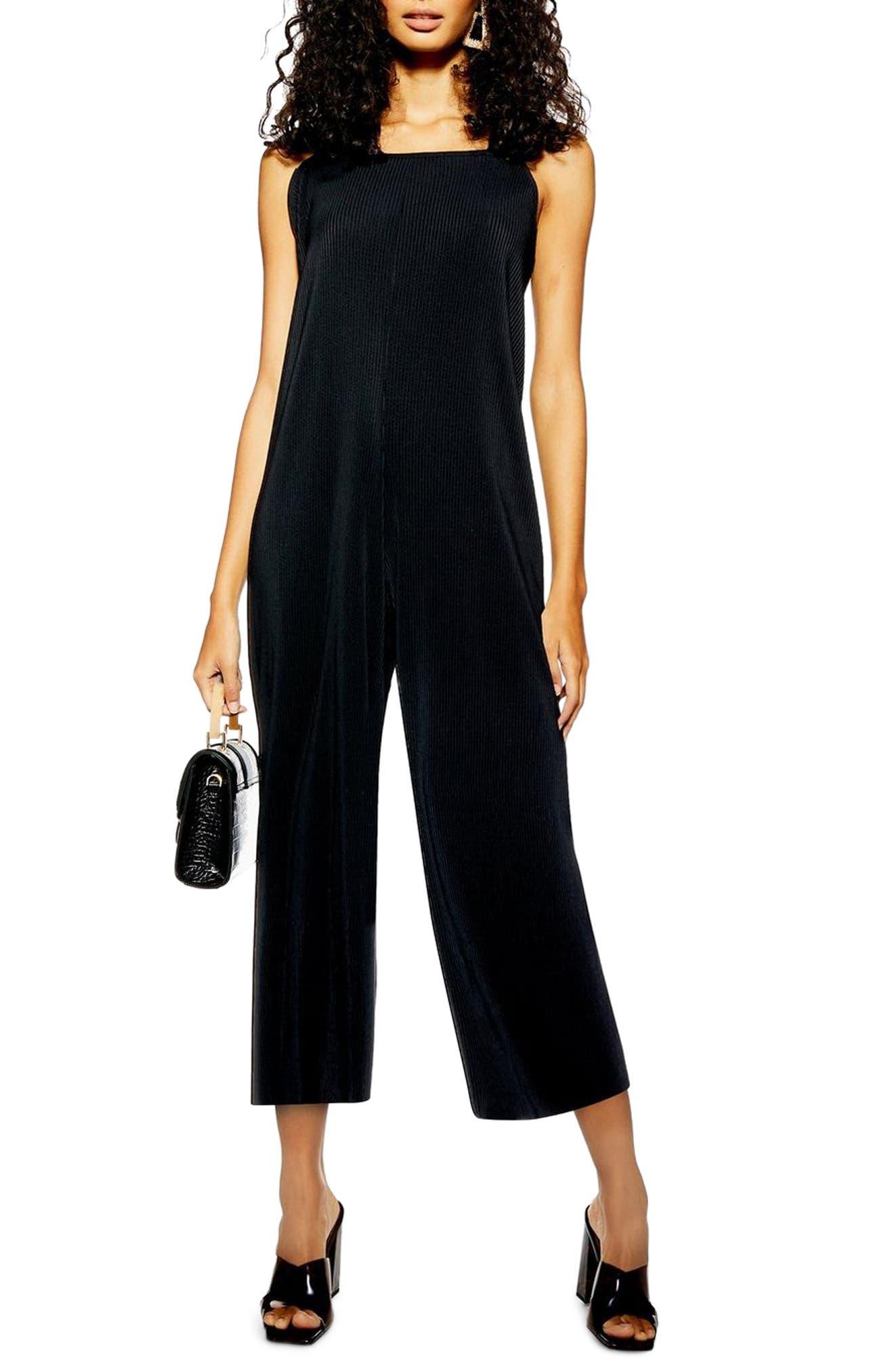 TOPSHOP, Tie Shoulder Crop Jumpsuit, Main thumbnail 1, color, BLACK