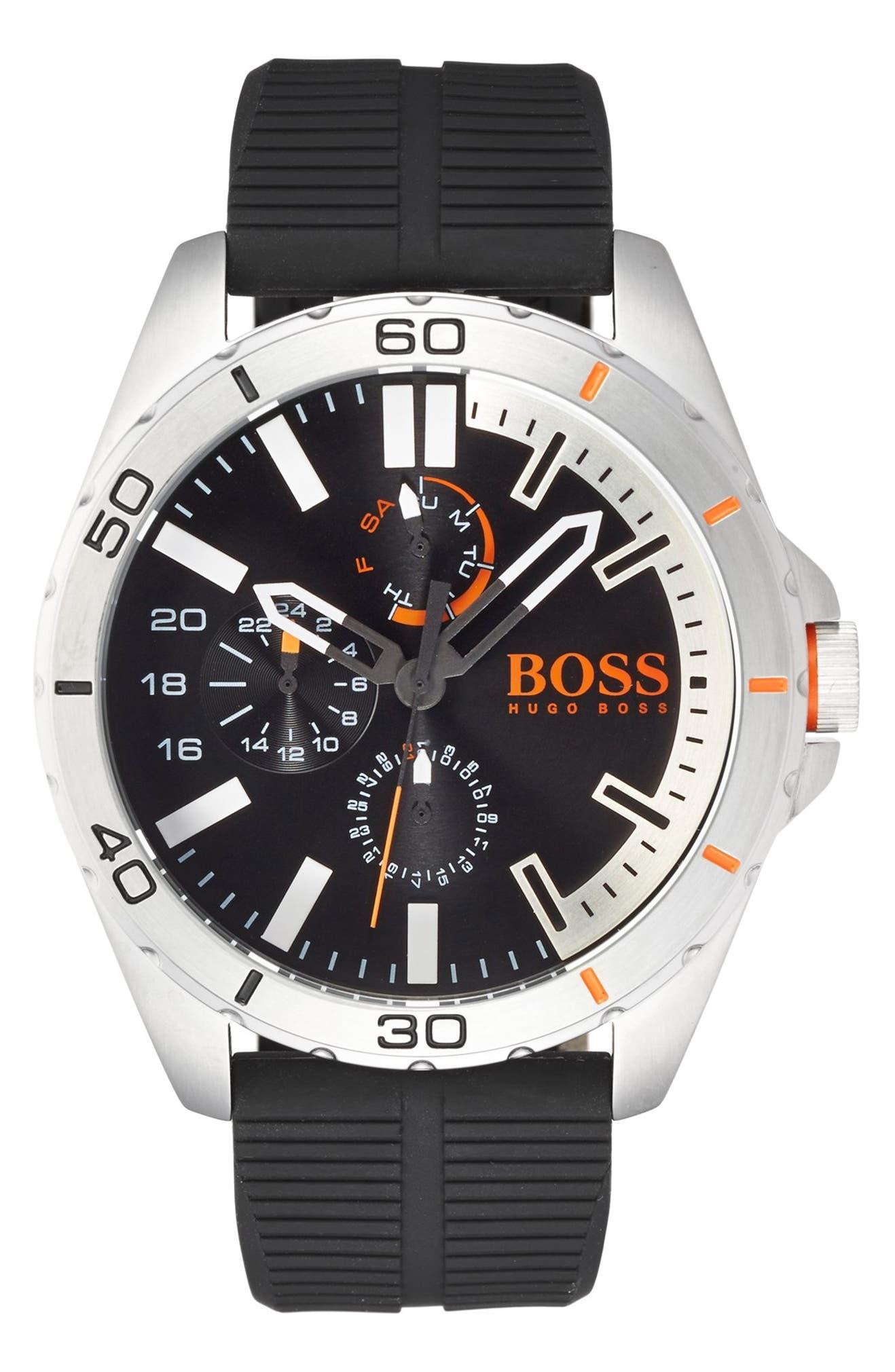 87a0f1e5d BOSS Orange 'Berlin' Chronograph Silicone Strap Watch, 48mm | Nordstrom