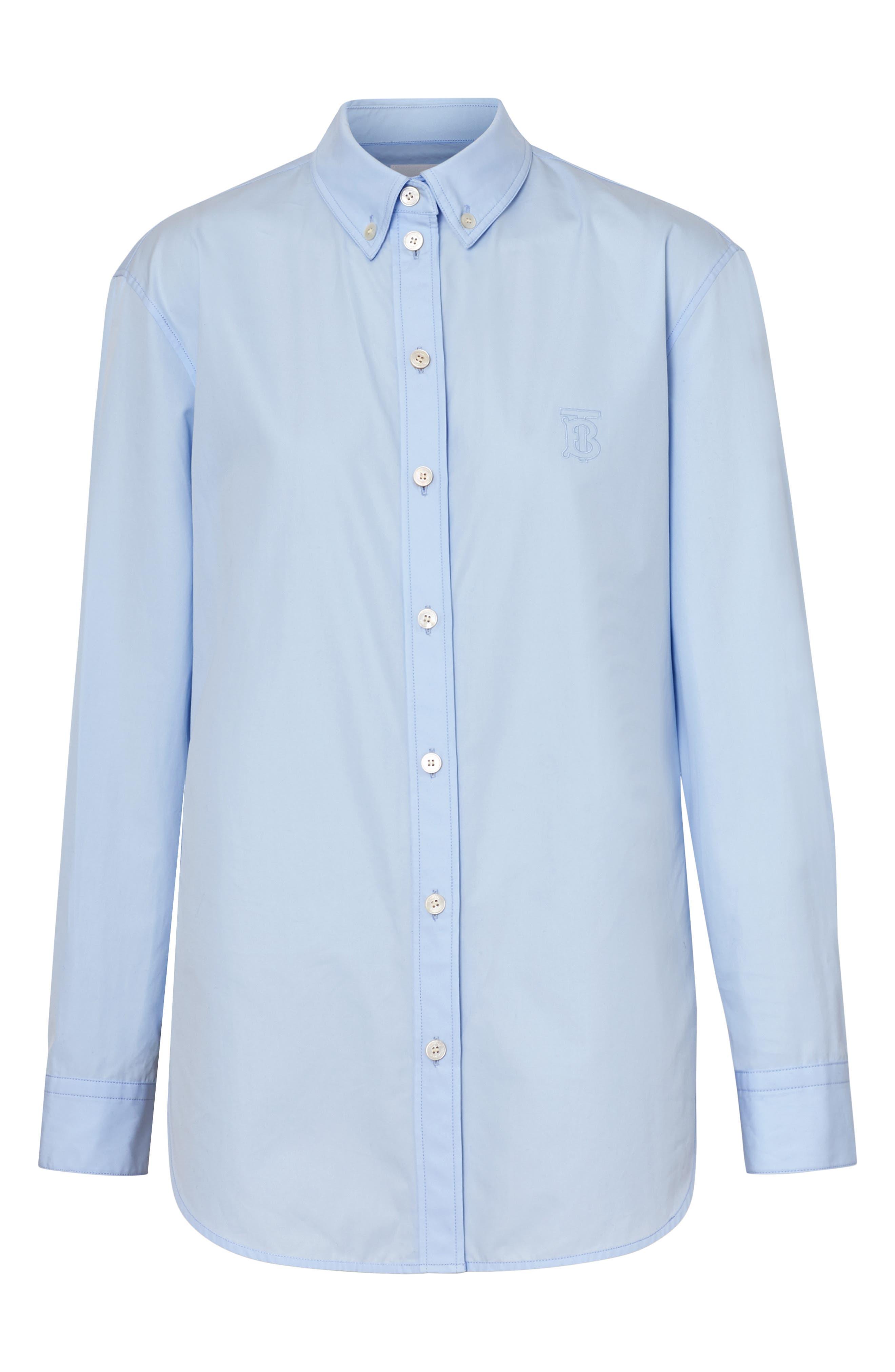 BURBERRY, Monogram Regular Fit Cotton Shirt, Alternate thumbnail 5, color, PALE BLUE