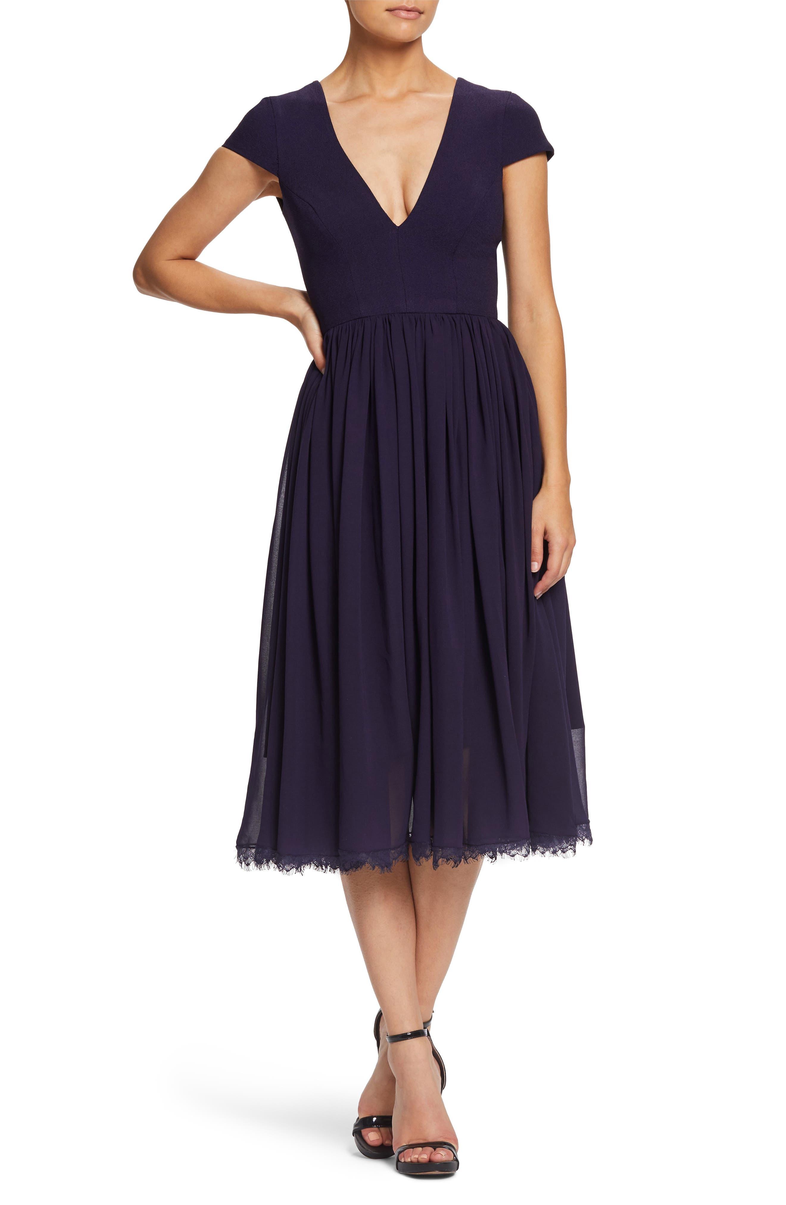 Dress The Population Corey Chiffon Fit & Flare Dress, Purple