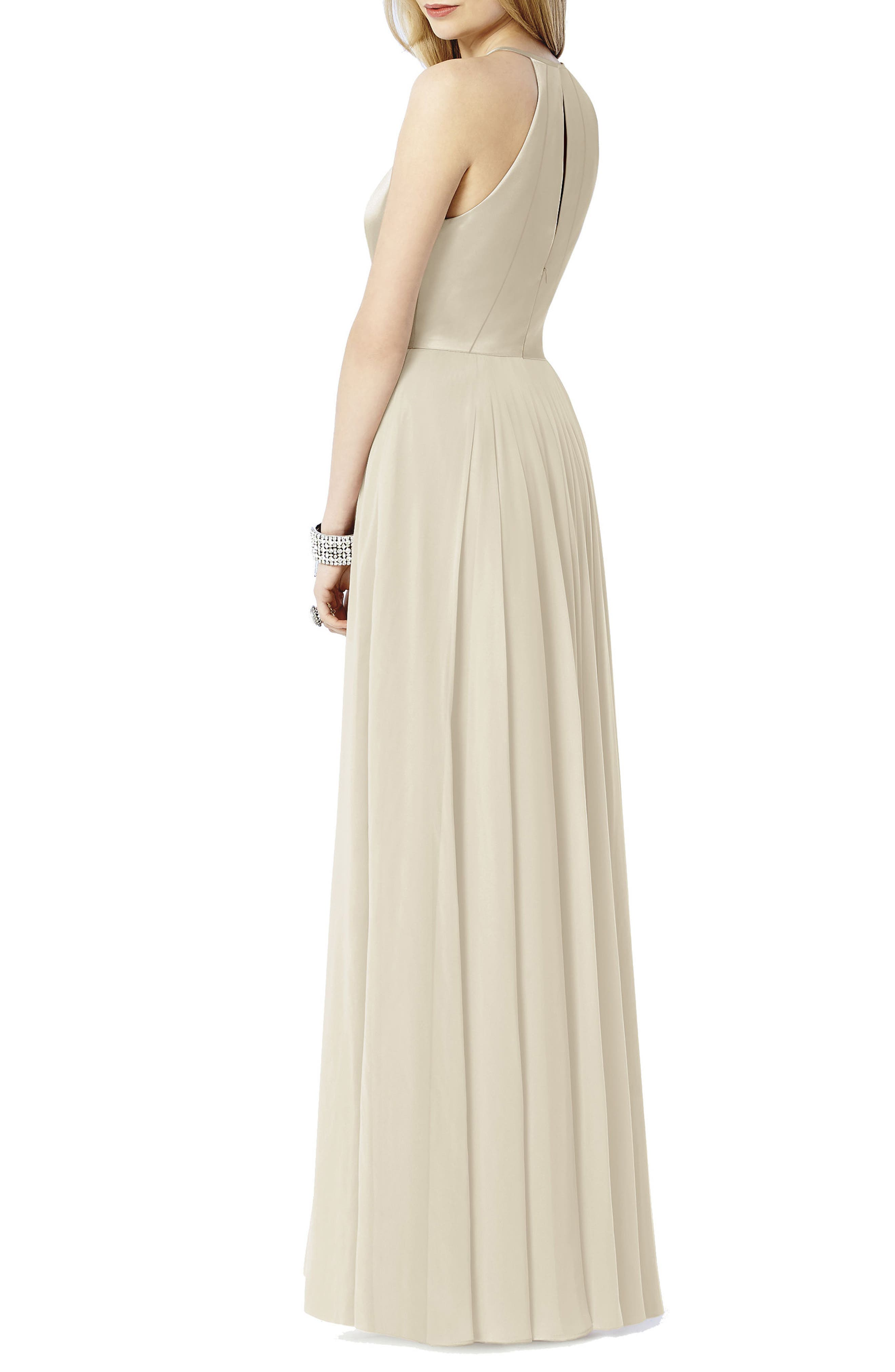 AFTER SIX, Satin & Chiffon Gown, Alternate thumbnail 2, color, PALOMINO