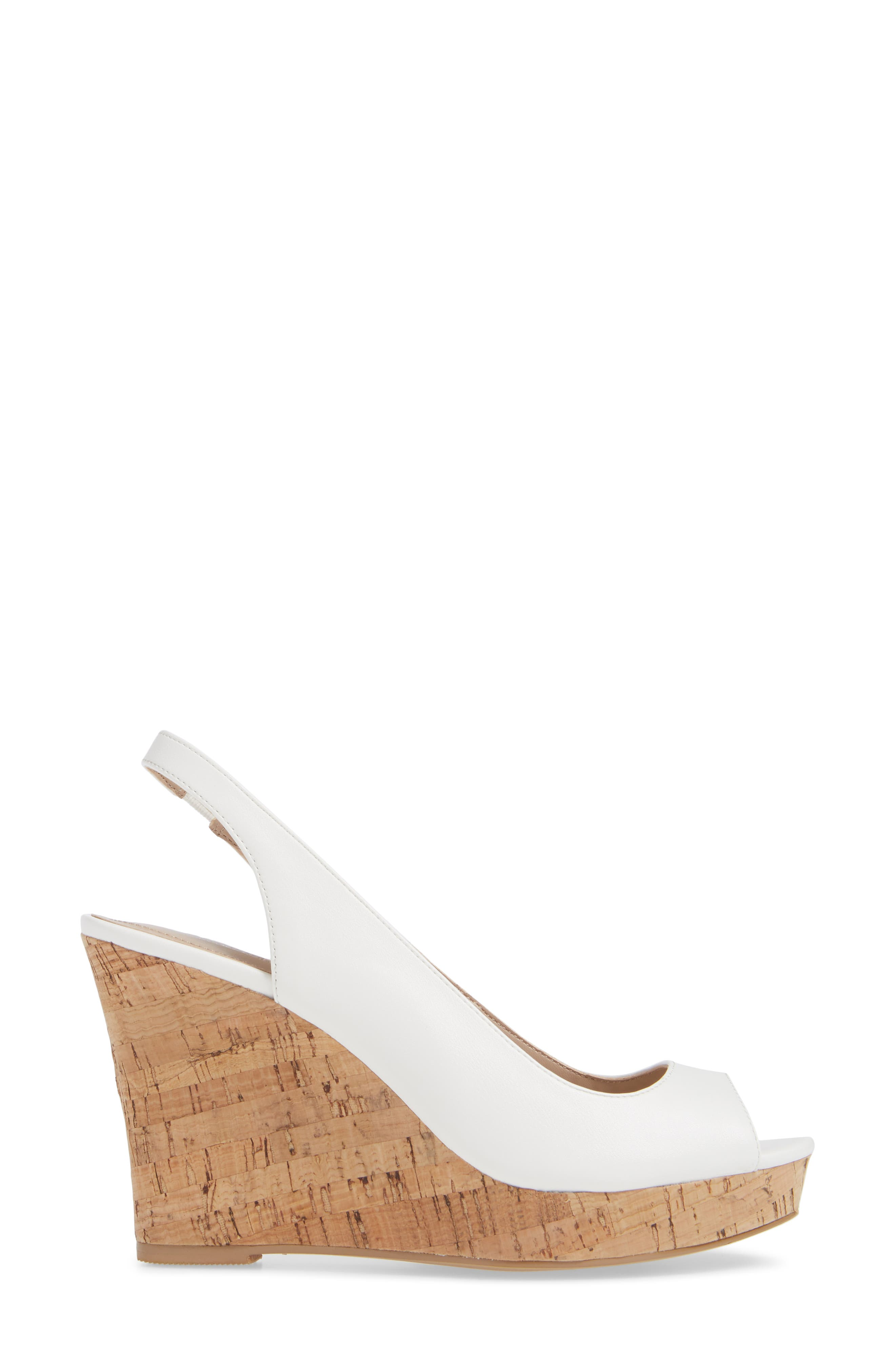 CHARLES BY CHARLES DAVID, Leandra Slingback Wedge, Alternate thumbnail 3, color, 100