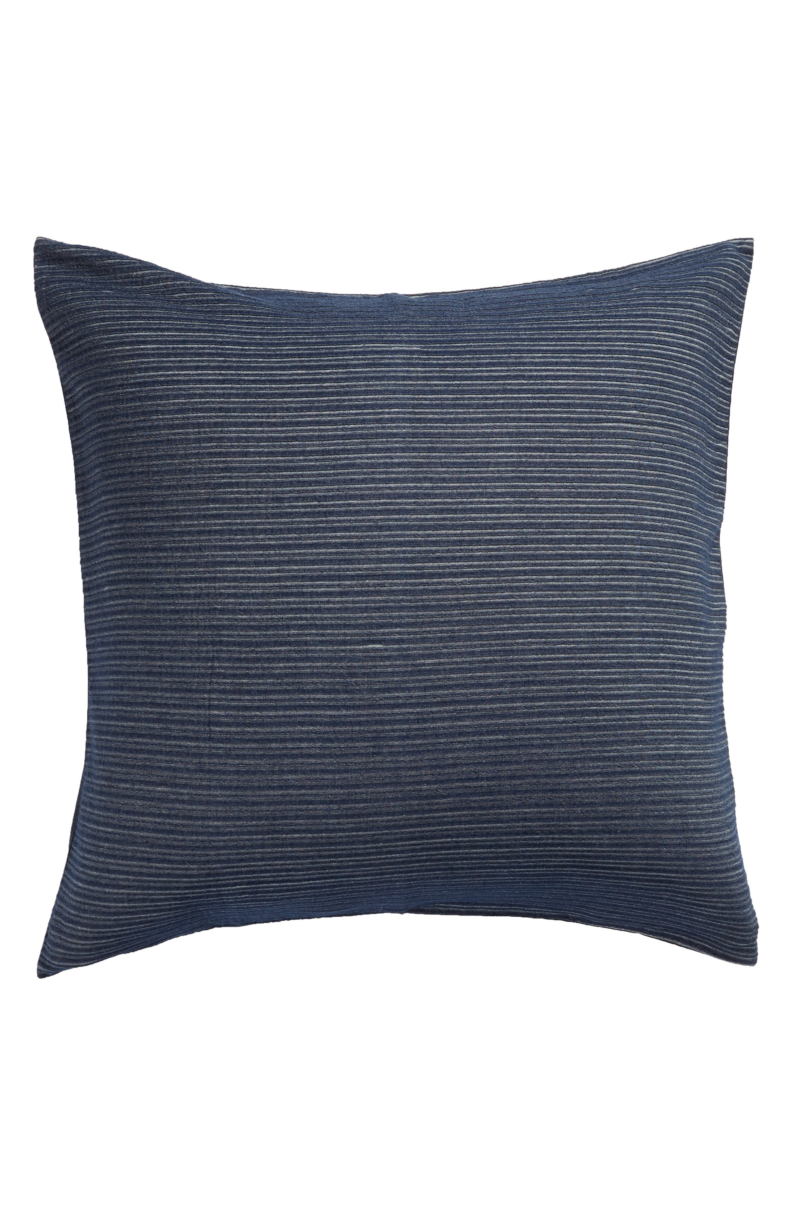 TREASURE & BOND Textured Stripe Euro Sham, Main, color, NAVY BLUE