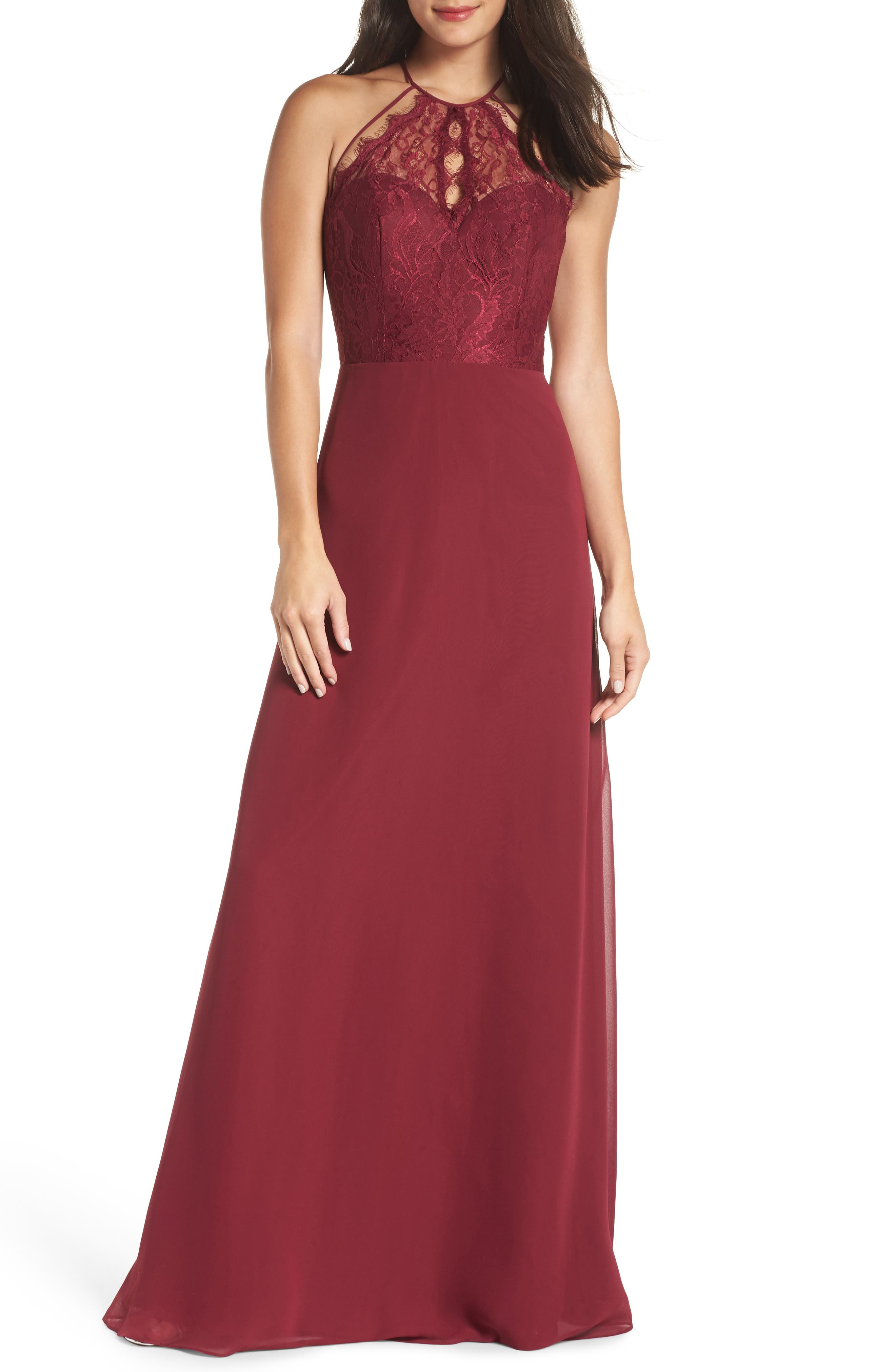 HAYLEY PAIGE OCCASIONS, Lace & Chiffon Halter Gown, Main thumbnail 1, color, BURGUNDY