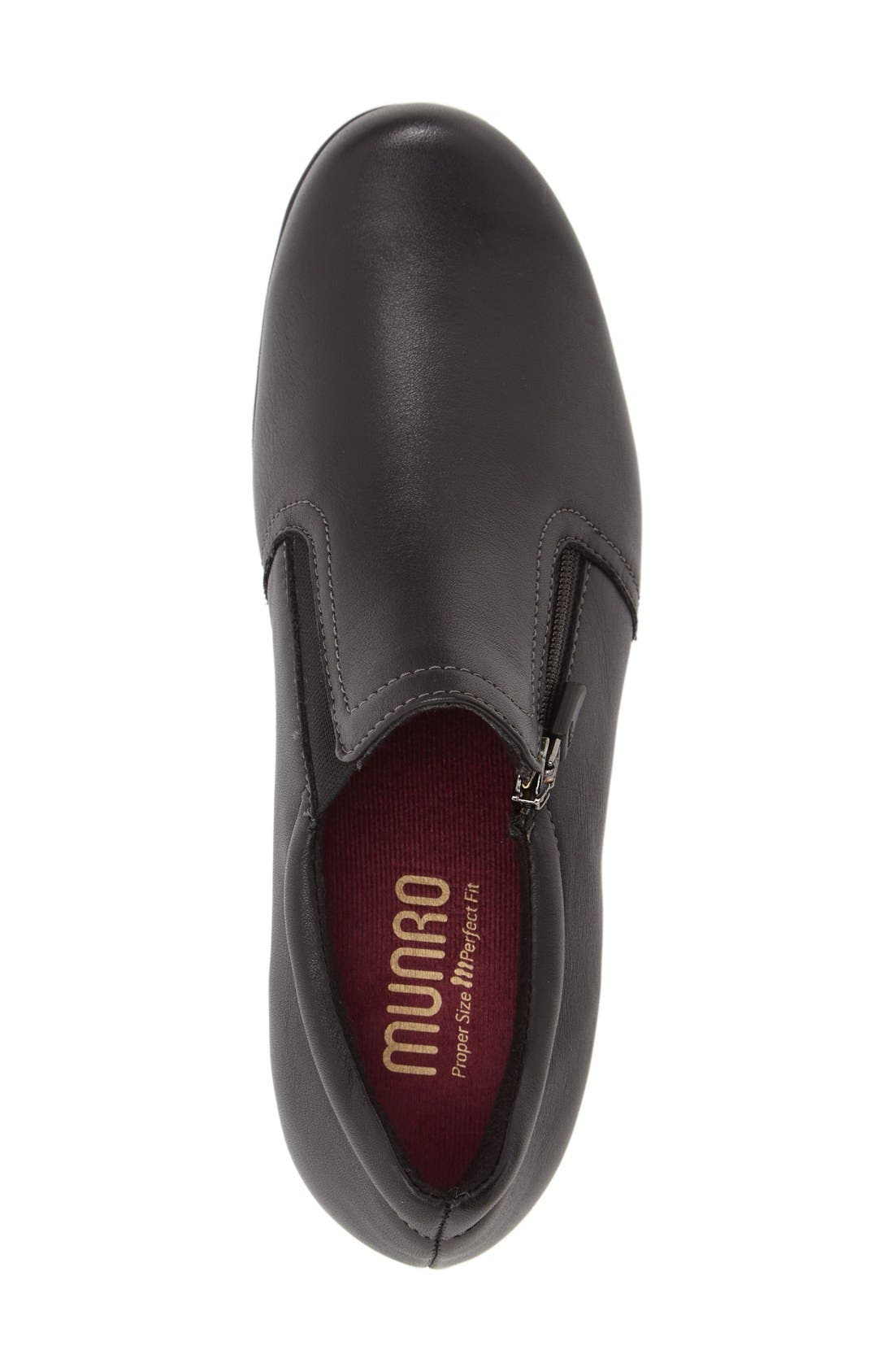 MUNRO, Napoli Zip Bootie, Alternate thumbnail 3, color, BLACK LEATHER