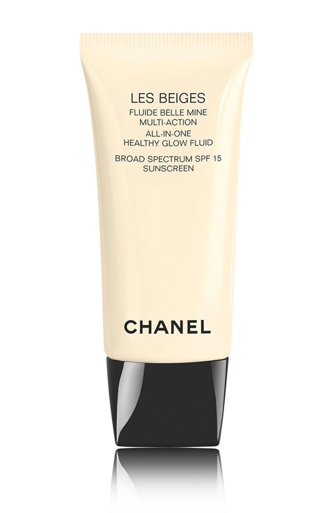 CHANEL LES BEIGES<br />All-In-One Healthy Glow Fluid Broad Spectrum SPF 15 Sunscreen, Main, color, 200