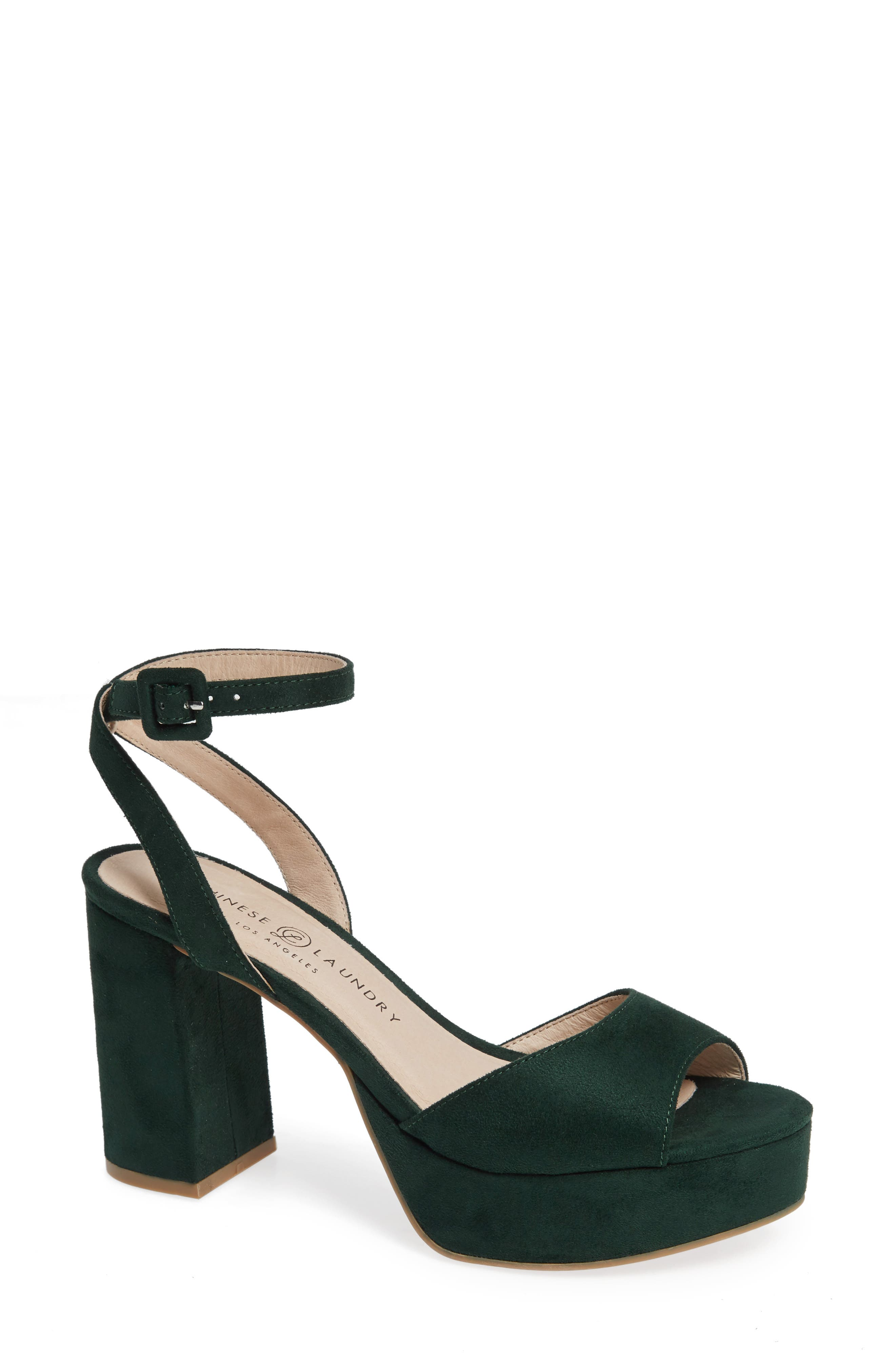 CHINESE LAUNDRY, Theresa Platform Sandal, Main thumbnail 1, color, FOREST GREEN SUEDE