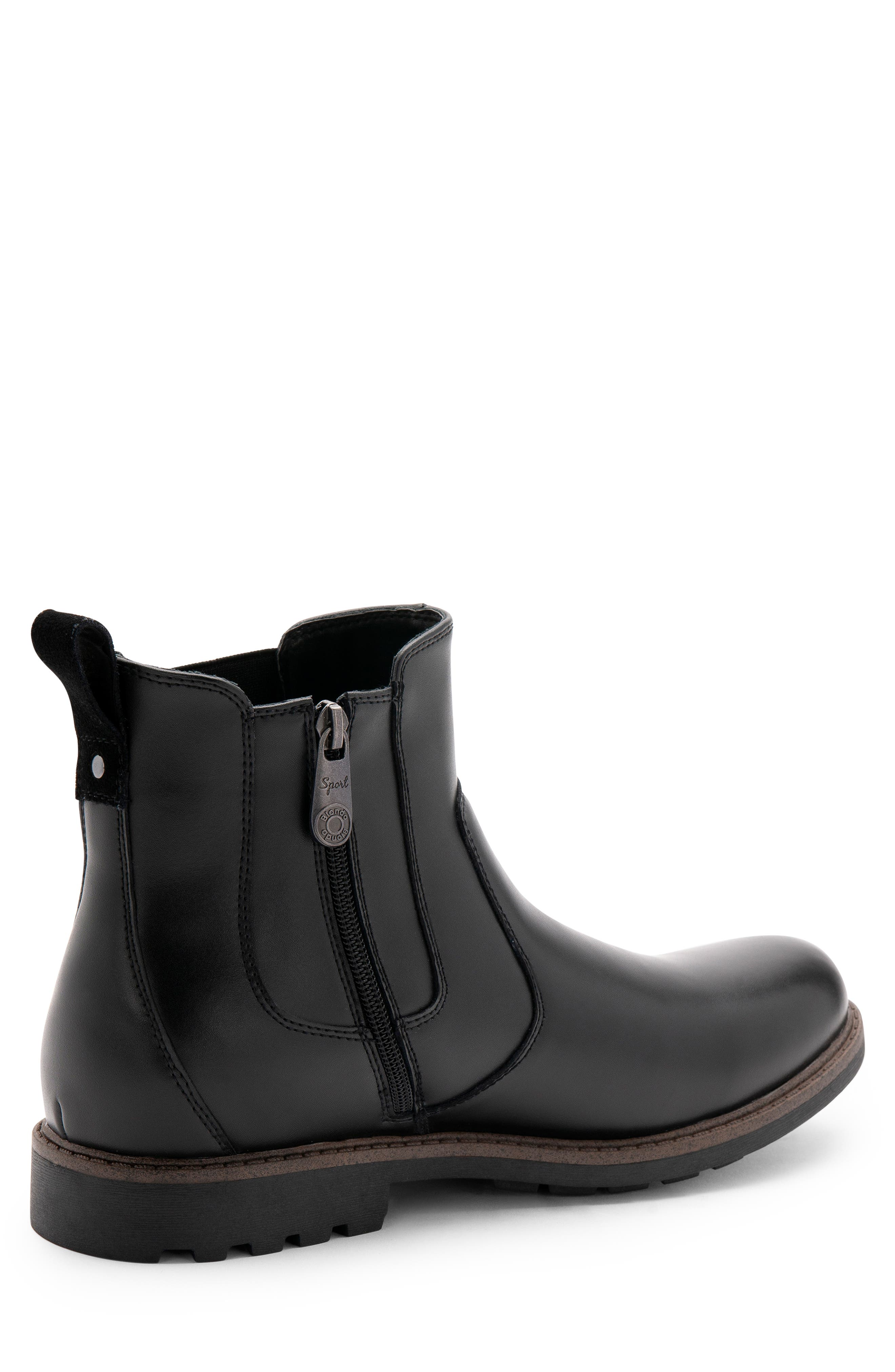 BLONDO, Shadow Waterproof Chelsea Boot, Alternate thumbnail 8, color, BLACK LEATHER
