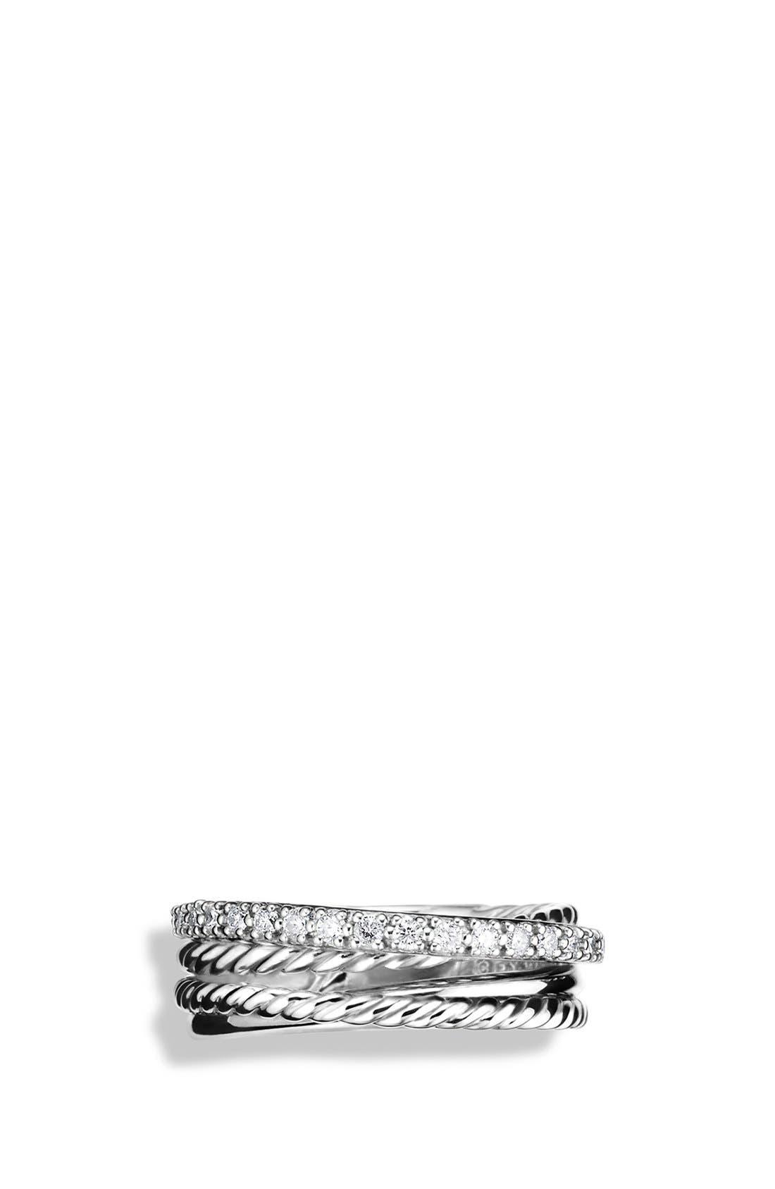 DAVID YURMAN, 'Crossover' Ring with Diamonds, Alternate thumbnail 3, color, SILVER/ DIAMOND