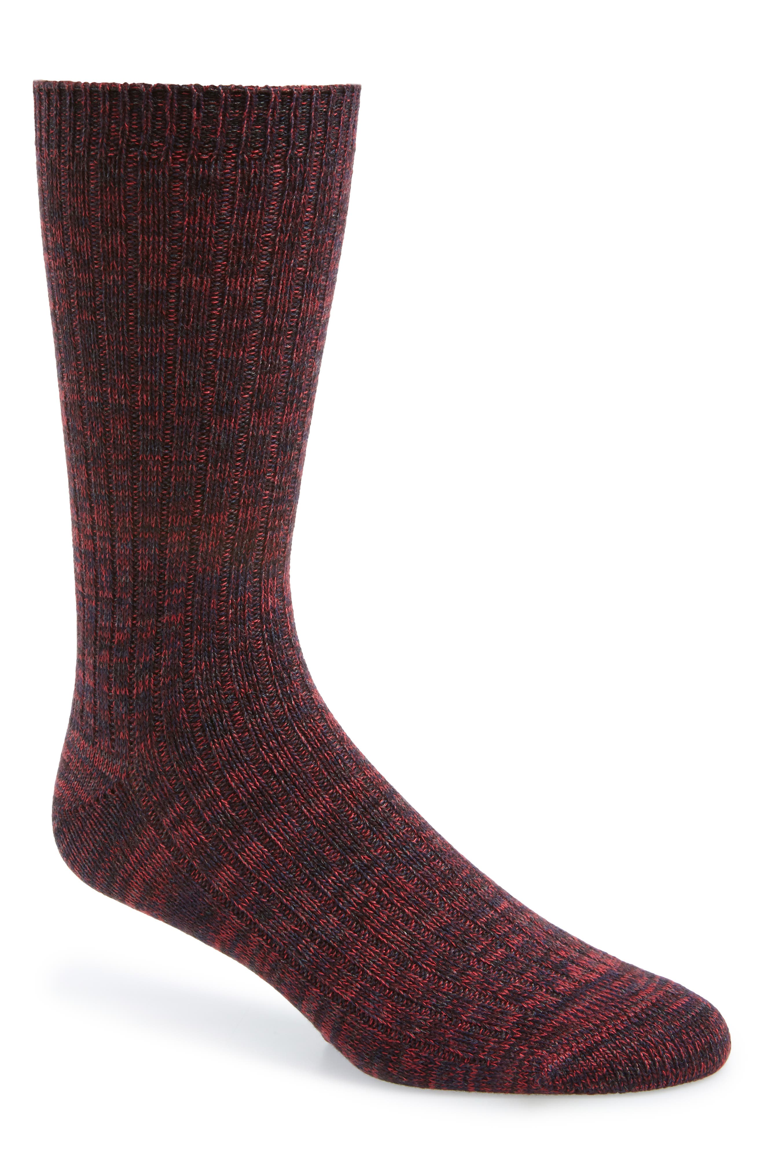 1901, Marled Ribbed Socks, Main thumbnail 1, color, BLACK/ RED