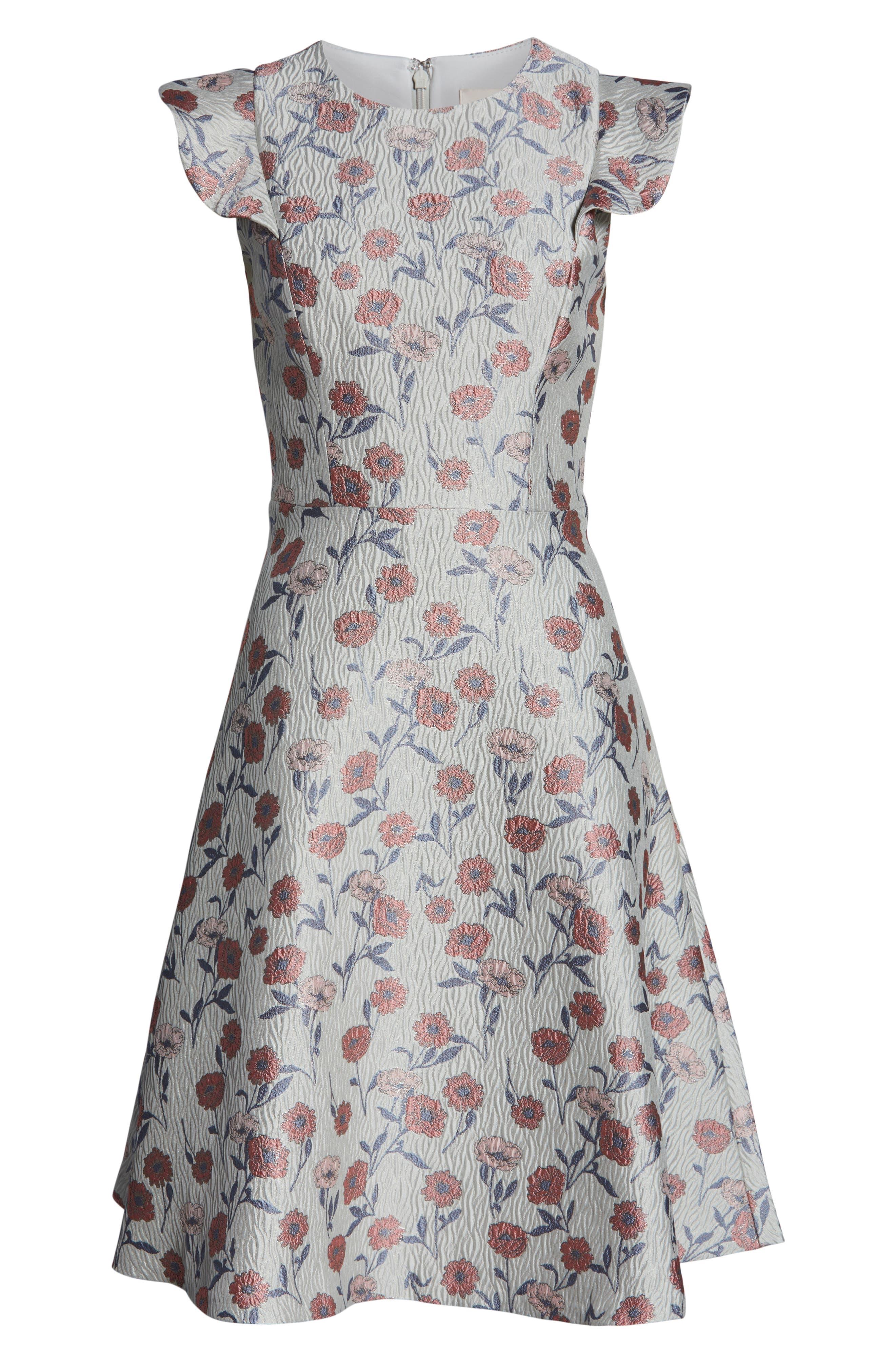 GAL MEETS GLAM COLLECTION, Lola Dancing Daisy Jacquard Dress, Alternate thumbnail 5, color, 650