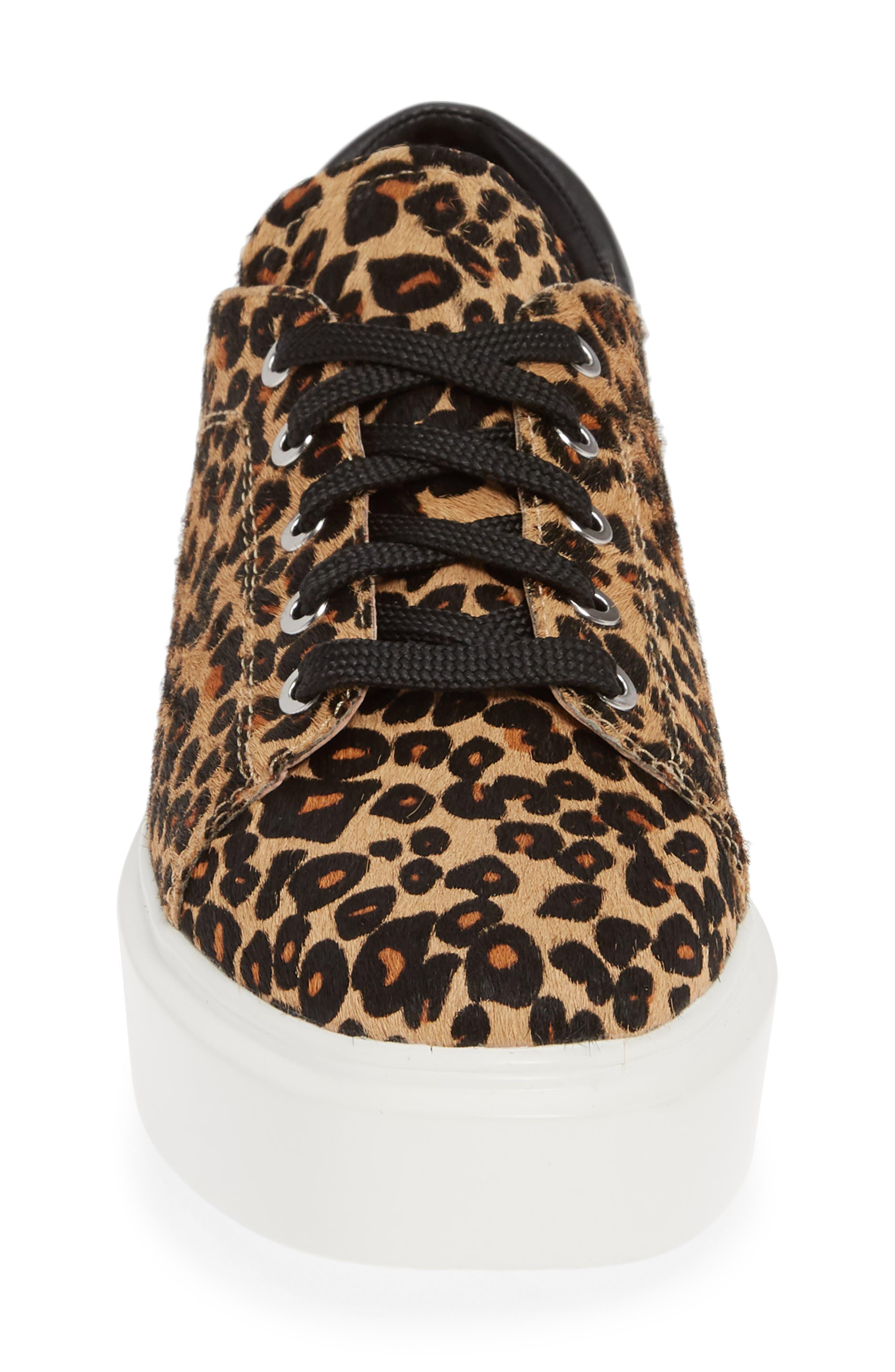 LINEA PAOLO, Kendra Genuine Calf Hair Platform Sneaker, Alternate thumbnail 4, color, LEOPARD PRINT CALF HAIR