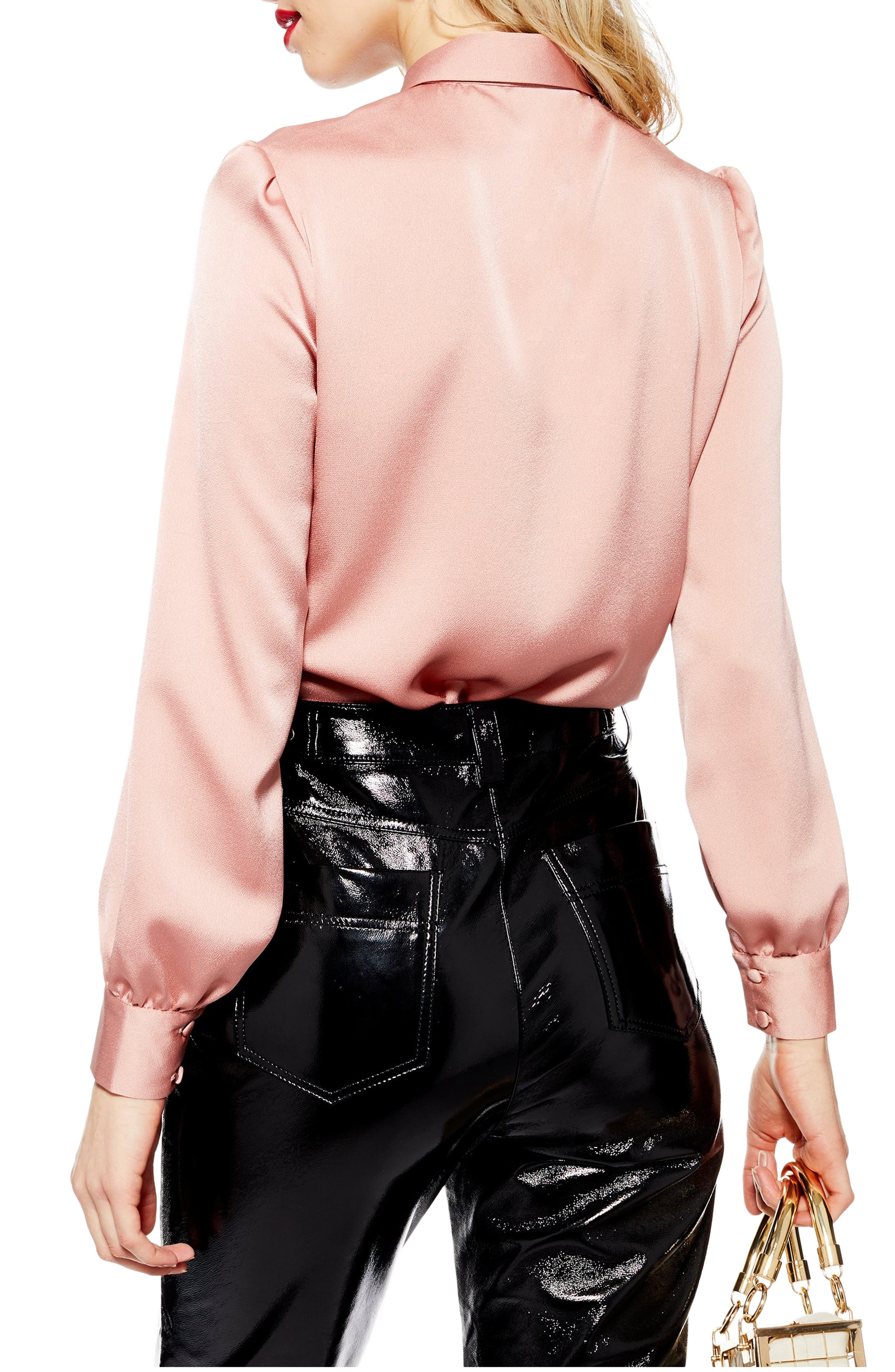TOPSHOP, Rouleau Button Shirt, Alternate thumbnail 2, color, BLUSH