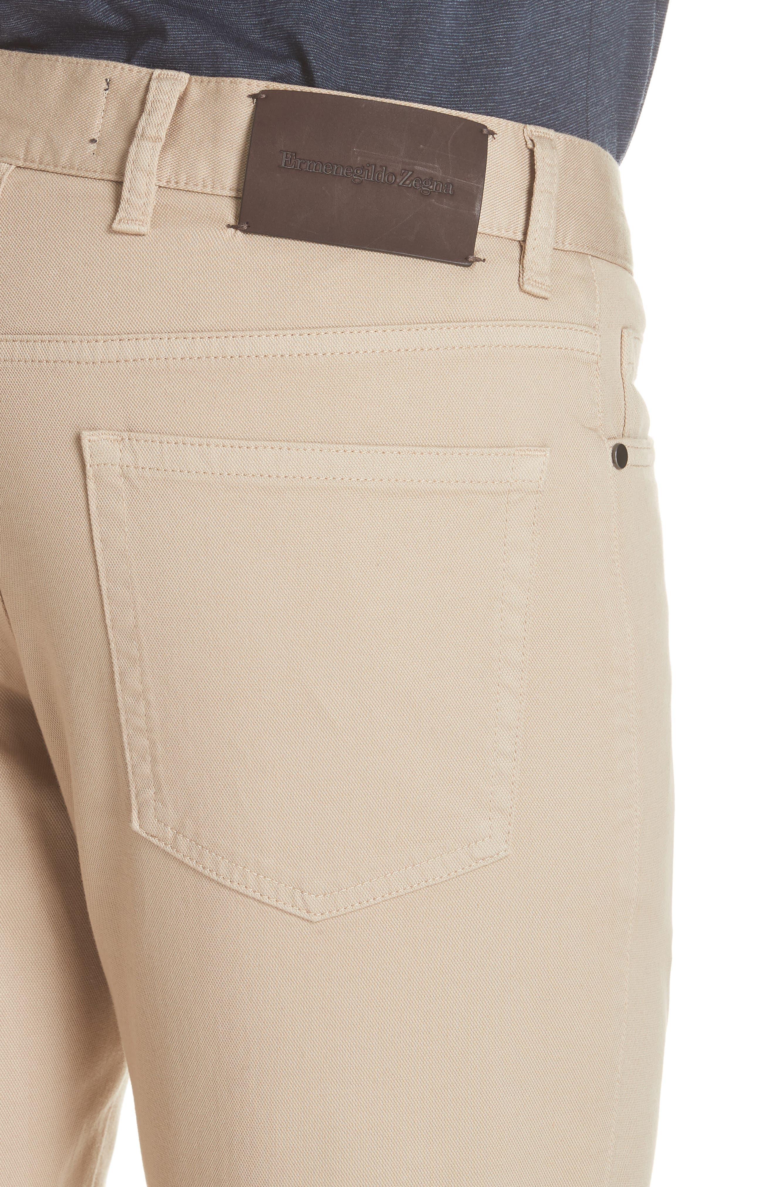 ERMENEGILDO ZEGNA, Stretch Cotton Five Pocket Pants, Alternate thumbnail 5, color, LIGHT BEIGE