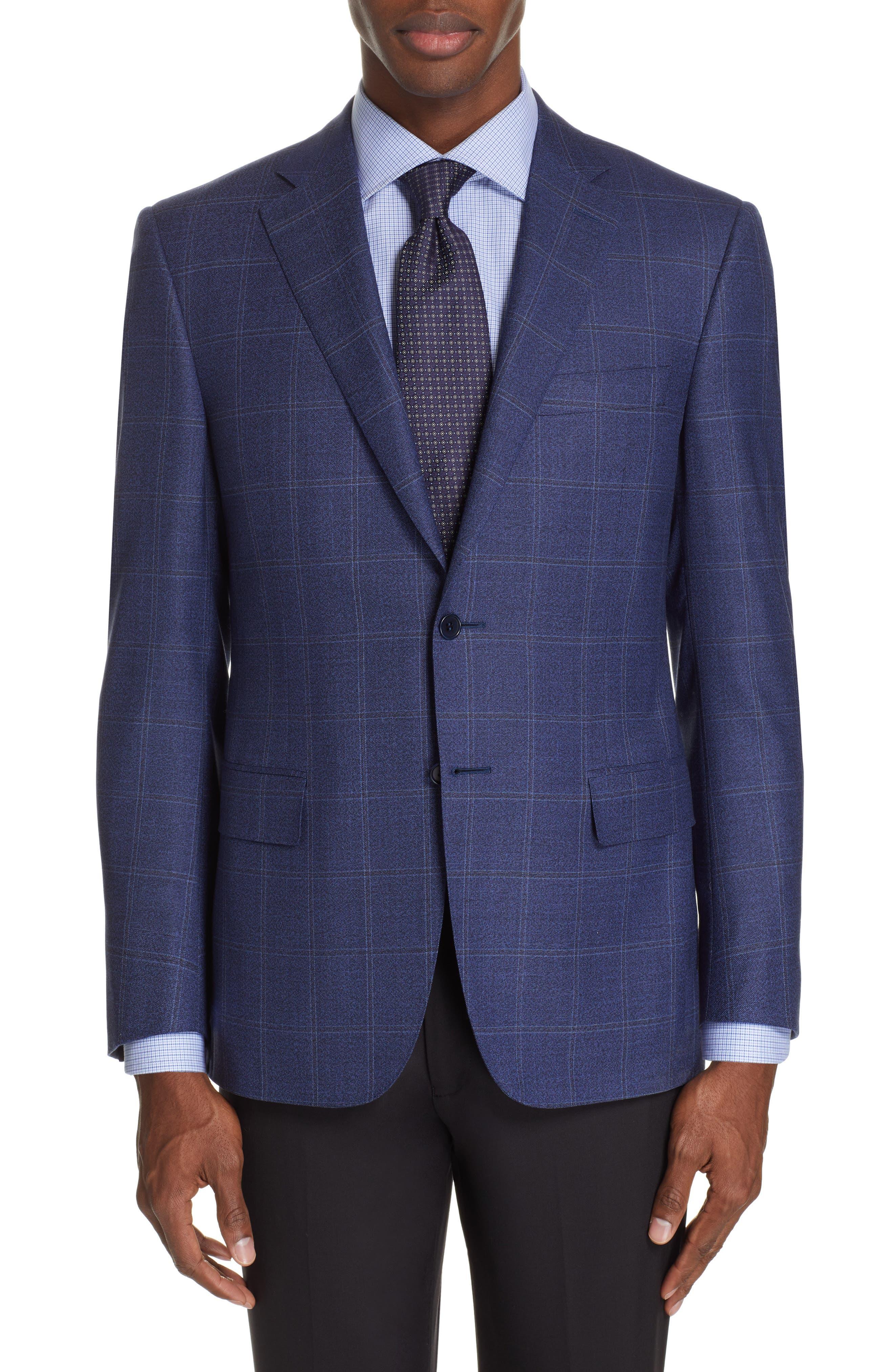 CANALI Siena Classic Fit Plaid Wool Sport Coat, Main, color, BLUE