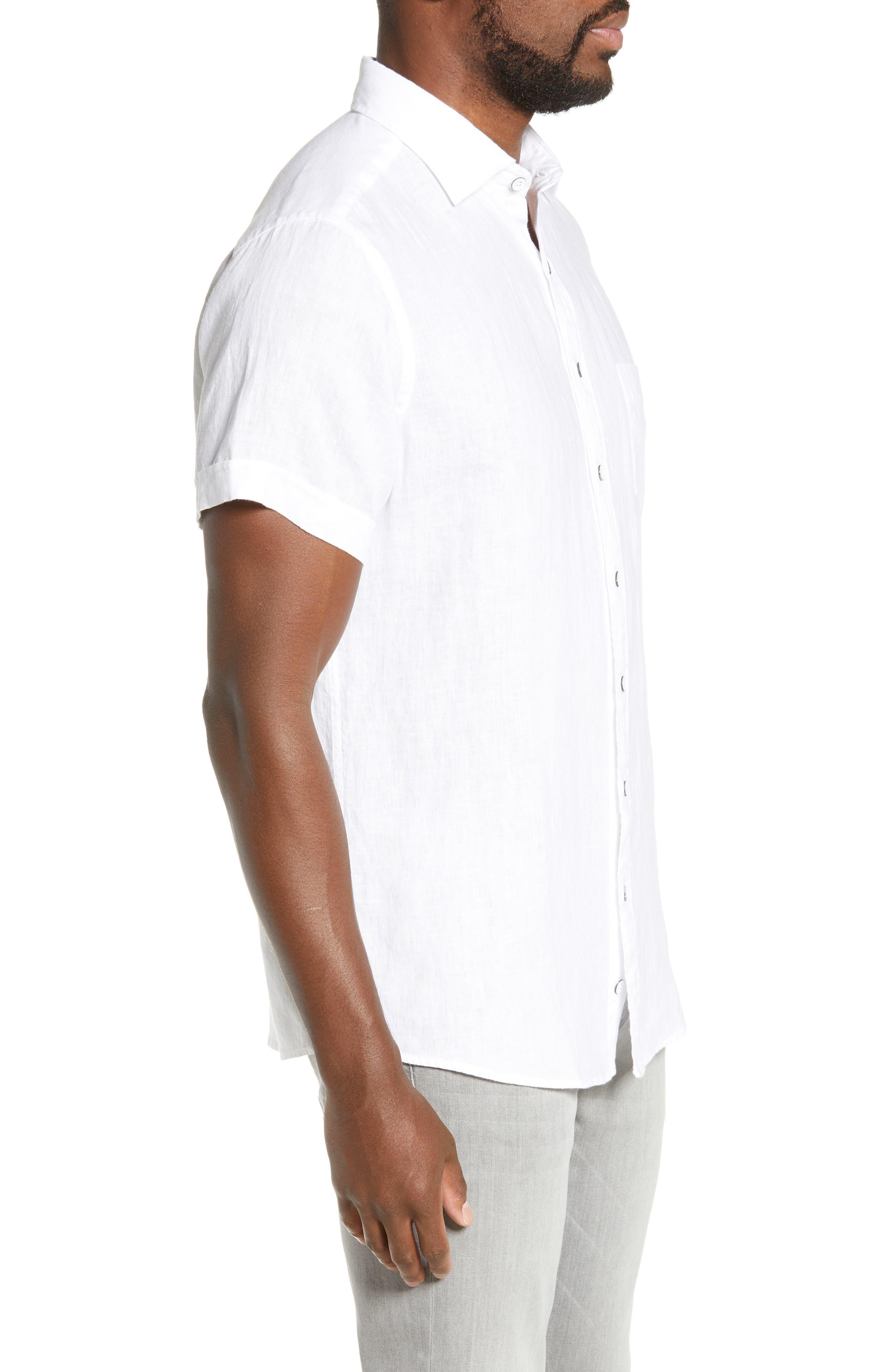 RODD & GUNN, Regular Fit Ellerslie Linen Shirt, Alternate thumbnail 4, color, IVORY