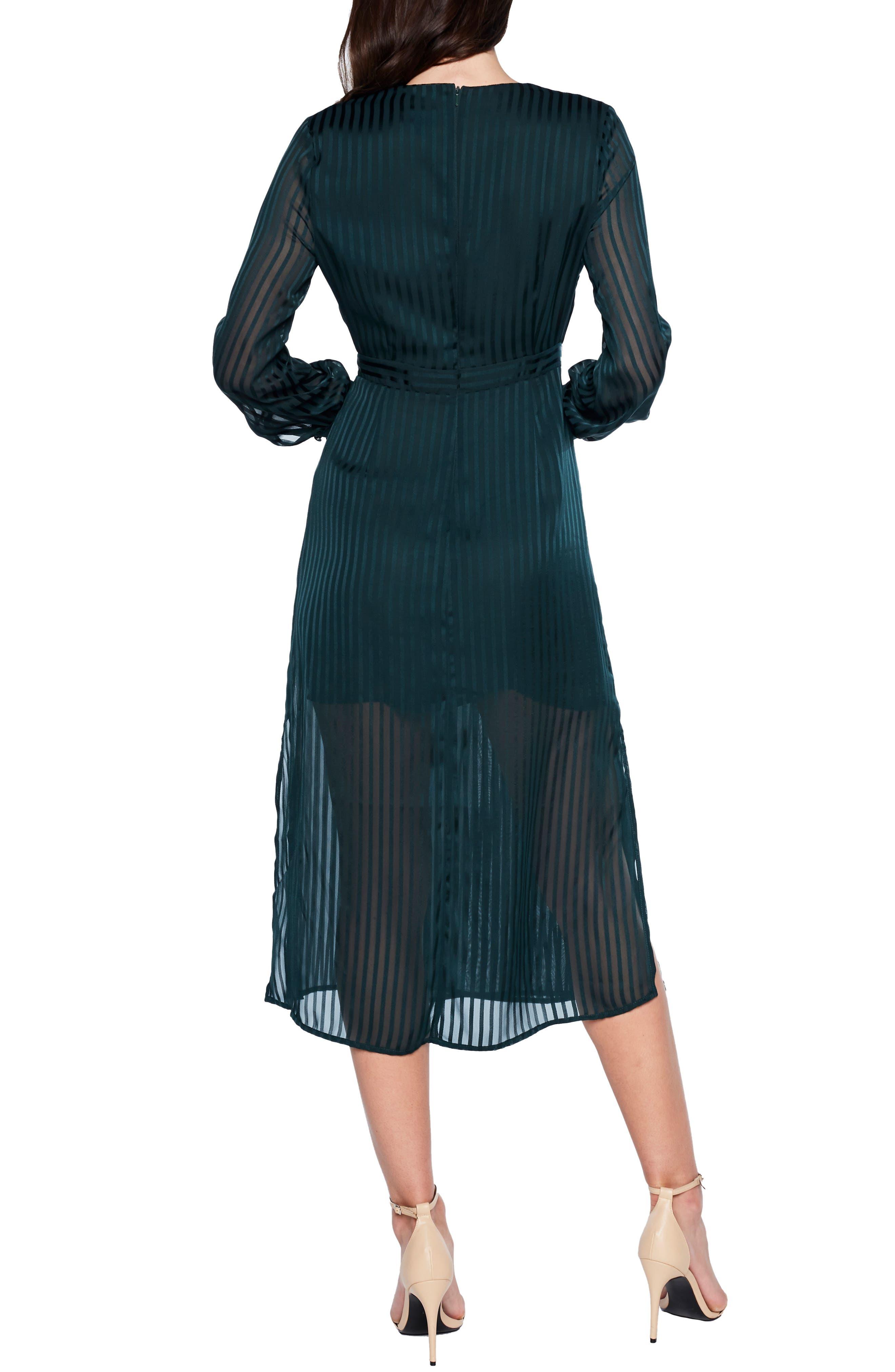 BARDOT, Shadow Stripe Faux Wrap Midi Dress, Alternate thumbnail 2, color, 309