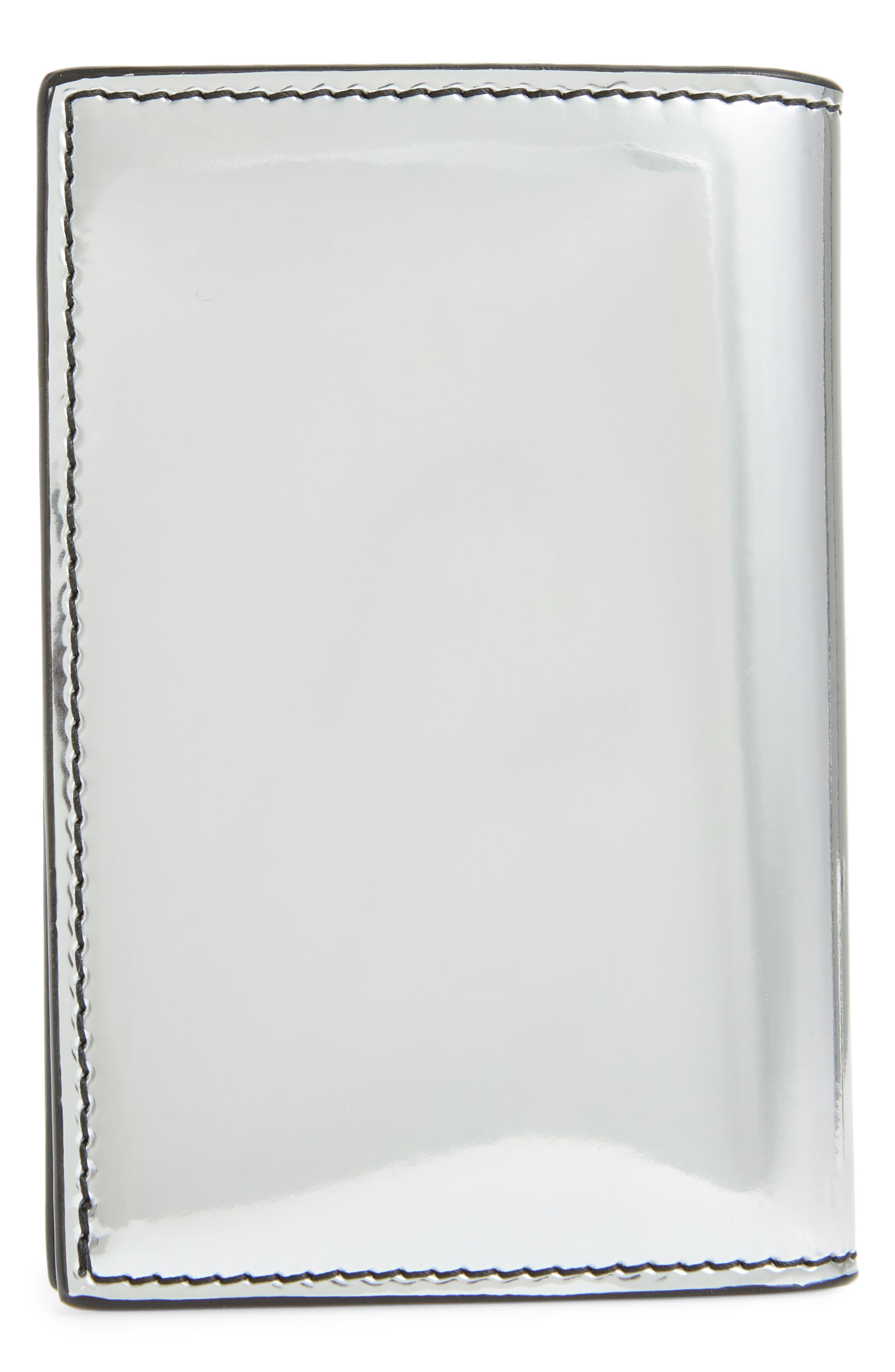 ALEXANDER MCQUEEN, Mirror Finish Leather Card Holder, Alternate thumbnail 3, color, SILVER