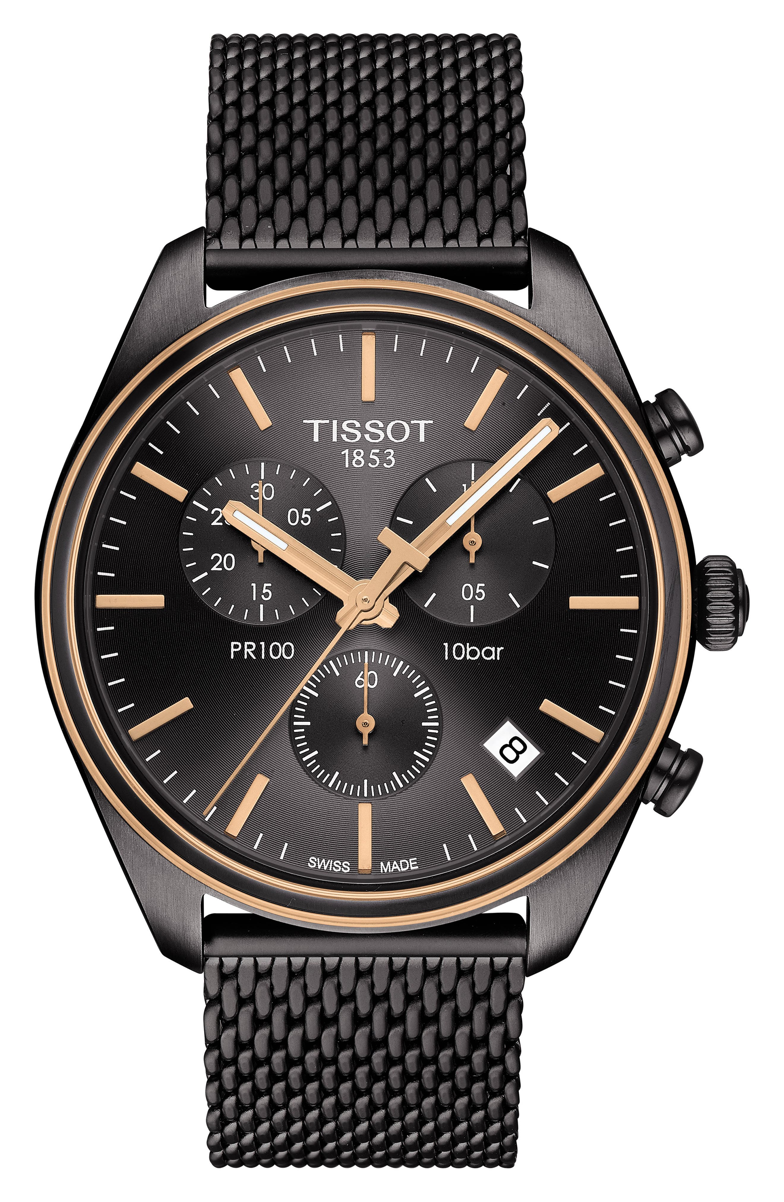 TISSOT, T-Classic PR 100 Chronograph Mesh Bracelet Watch, 41mm, Main thumbnail 1, color, SILVER/ ANTHRACITE/ ROSE GOLD