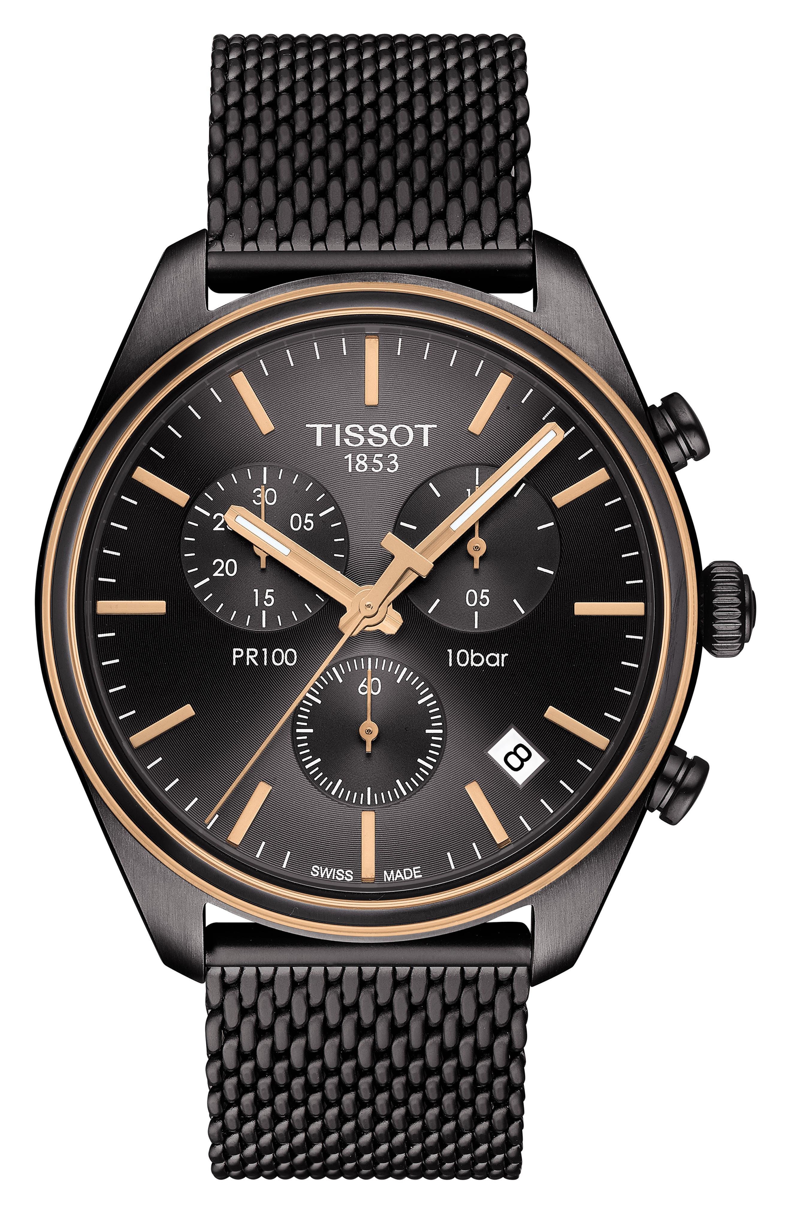 TISSOT T-Classic PR 100 Chronograph Mesh Bracelet Watch, 41mm, Main, color, SILVER/ ANTHRACITE/ ROSE GOLD