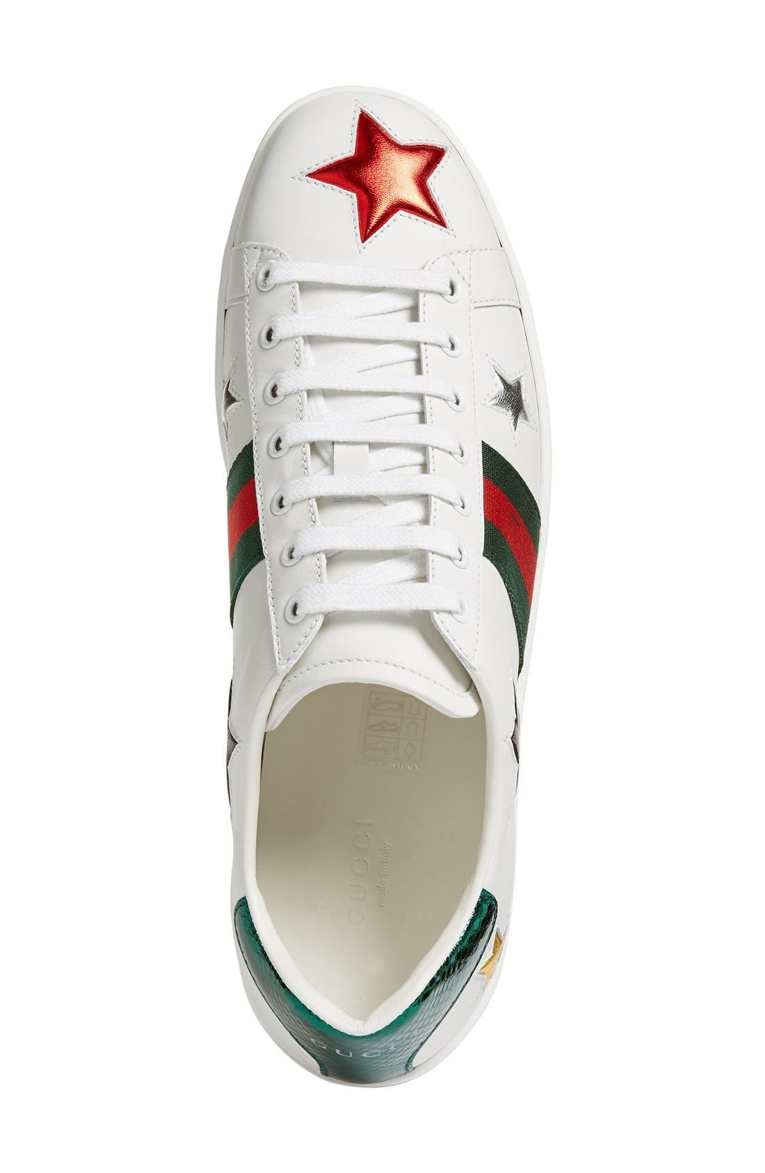 GUCCI, New Ace Star Sneaker, Alternate thumbnail 7, color, WHITE MULTI