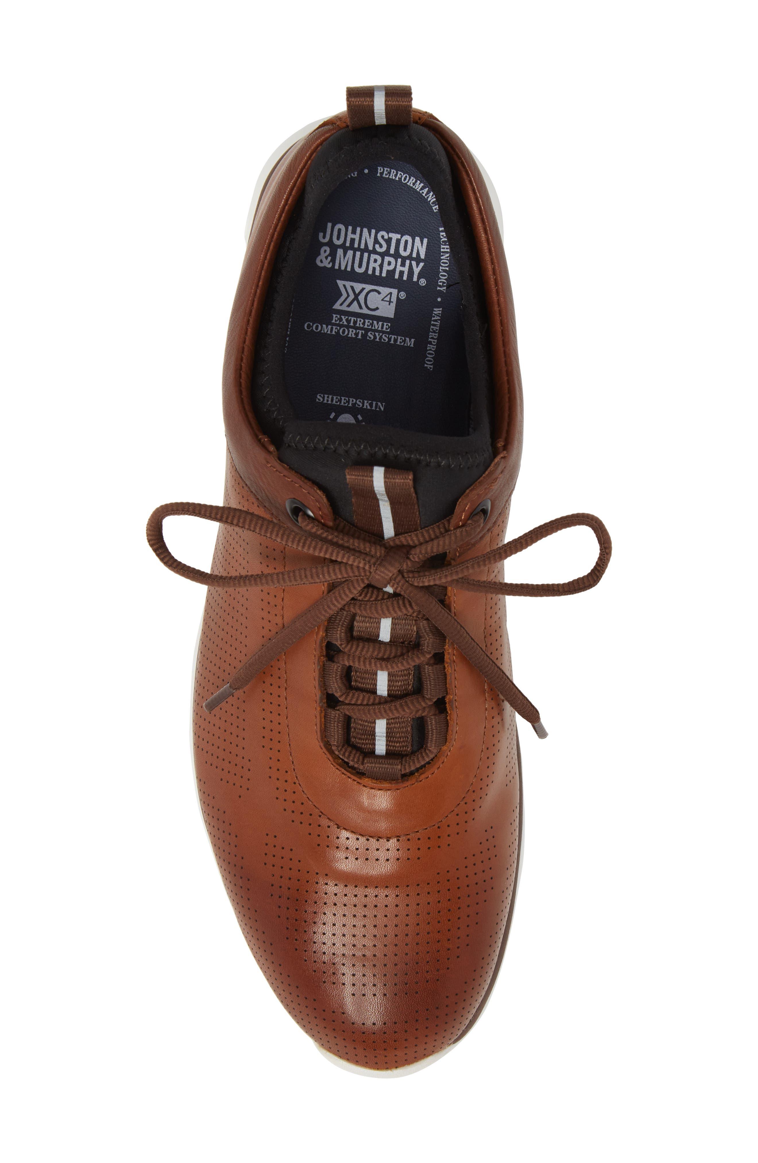 JOHNSTON & MURPHY, Prentiss XC4<sup>®</sup> Waterproof Sneaker, Alternate thumbnail 5, color, MAHOGANY LEATHER