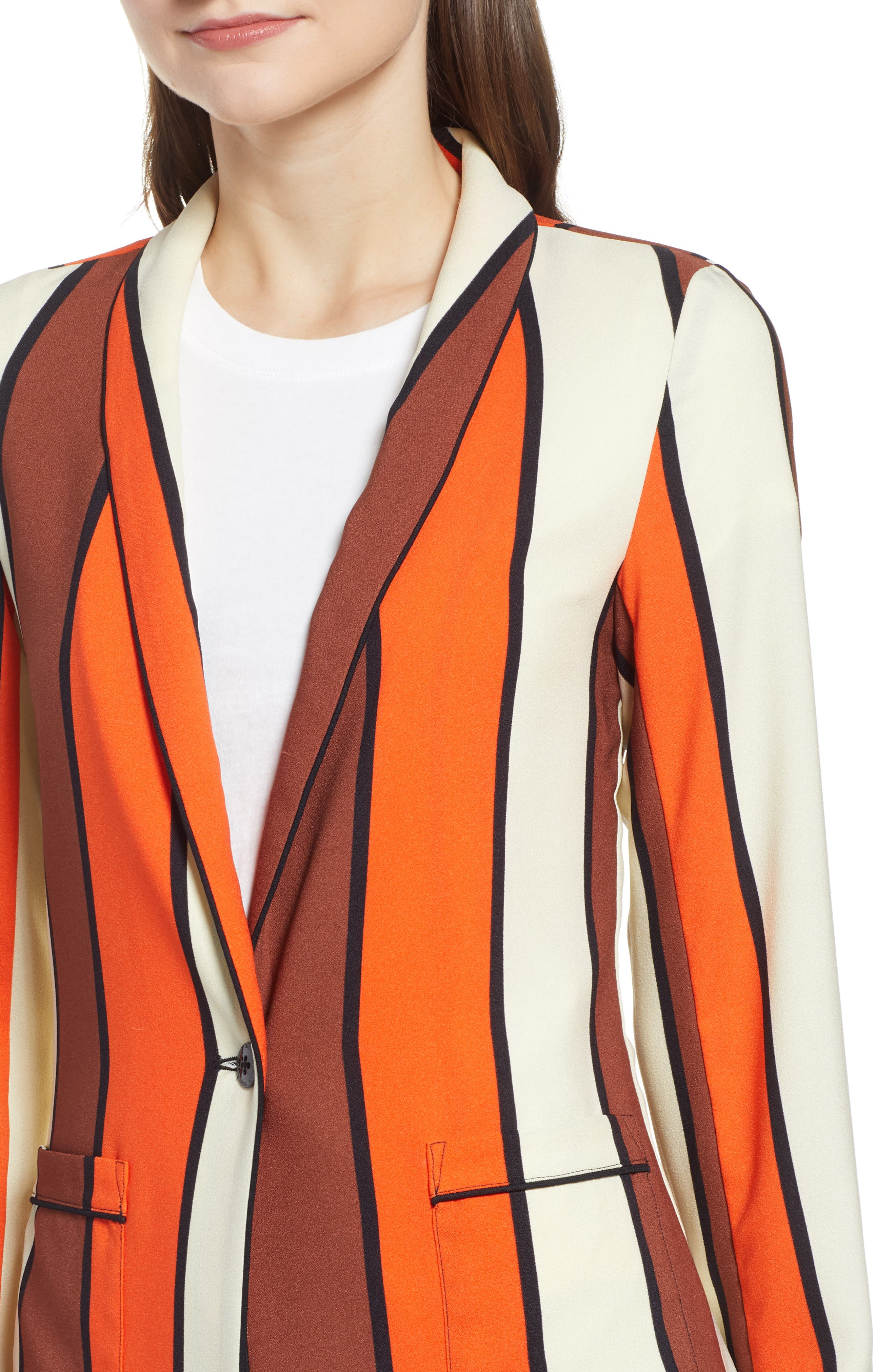 SCOTCH & SODA, Stripe Drapey Blazer, Alternate thumbnail 5, color, COMBO S