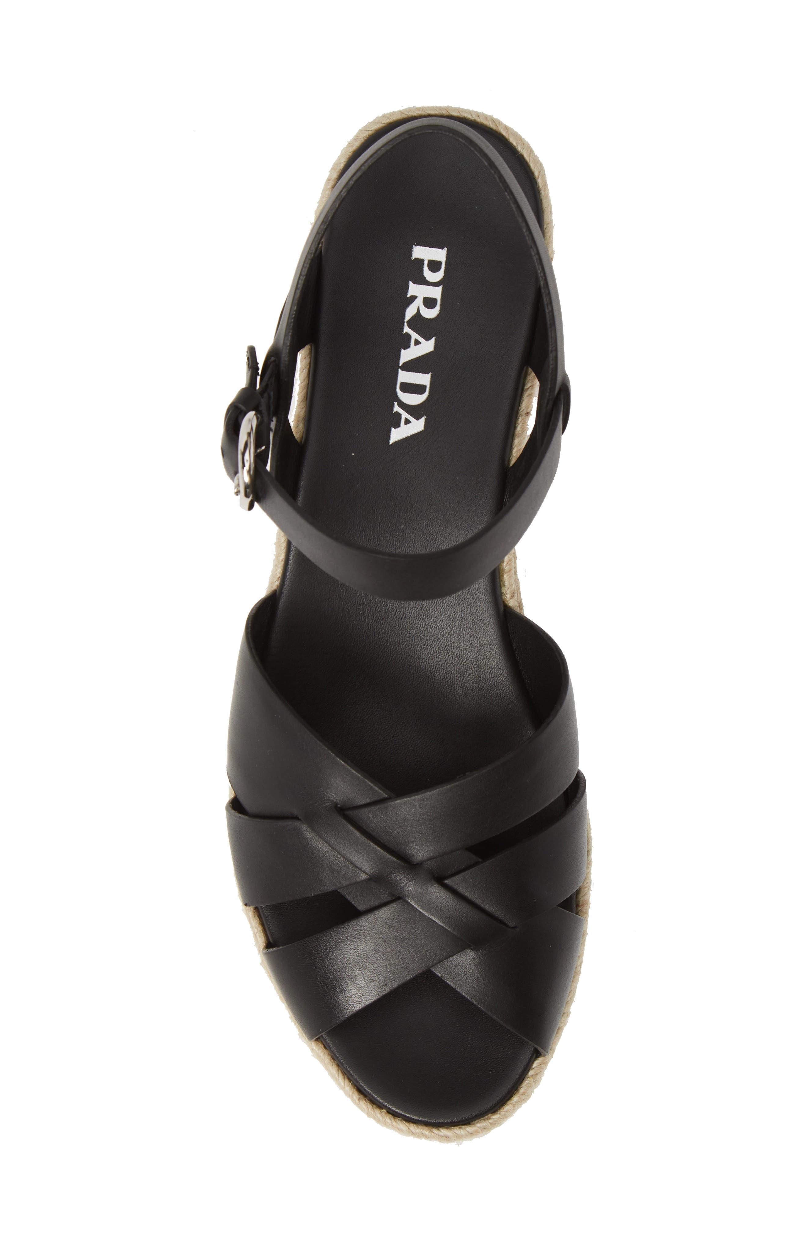 PRADA, Platform Espadrille Sandal, Alternate thumbnail 5, color, BLACK