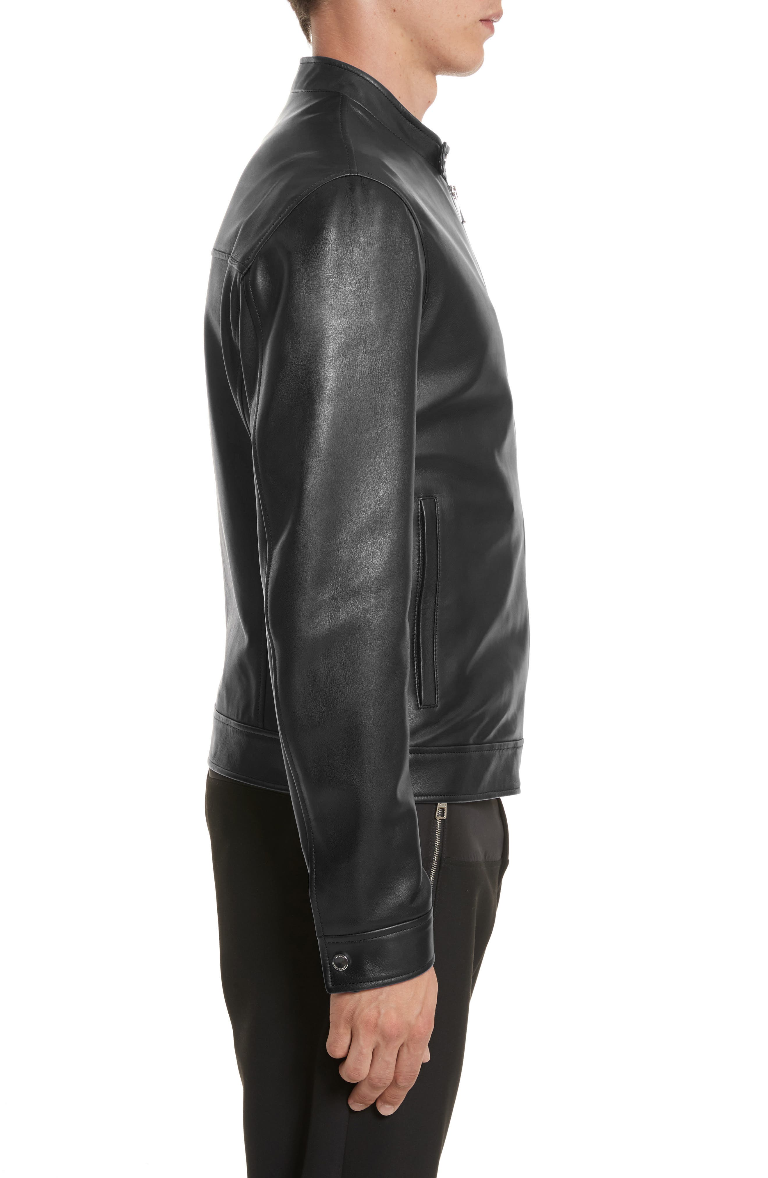 VERSACE COLLECTION, Café Racer Leather Jacket, Alternate thumbnail 3, color, 130