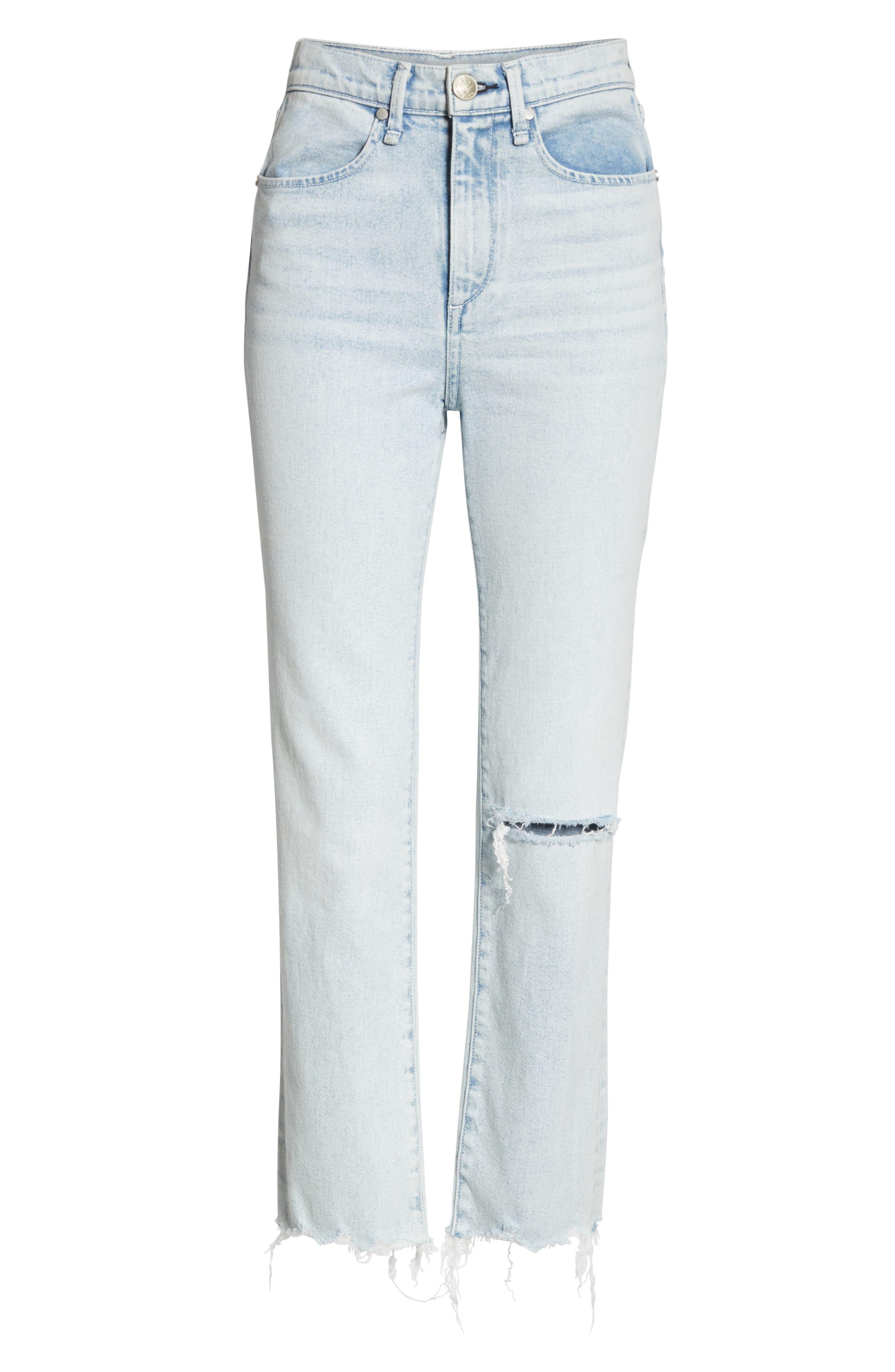 RAG & BONE, JEAN High Waist Ripped Ankle Cigarette Jeans, Alternate thumbnail 7, color, 450