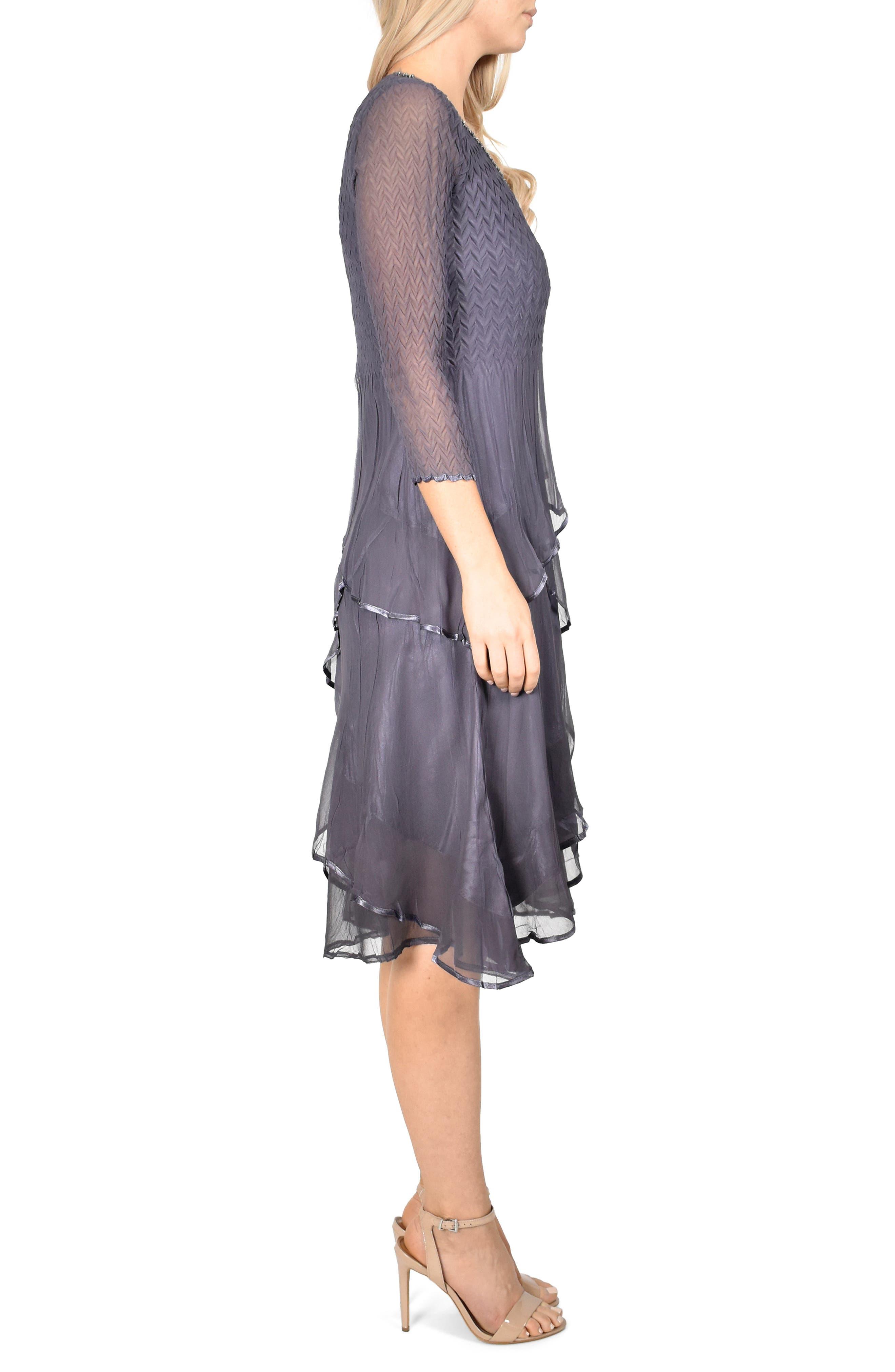 KOMAROV, Tiered Hem Dress, Alternate thumbnail 4, color, 500