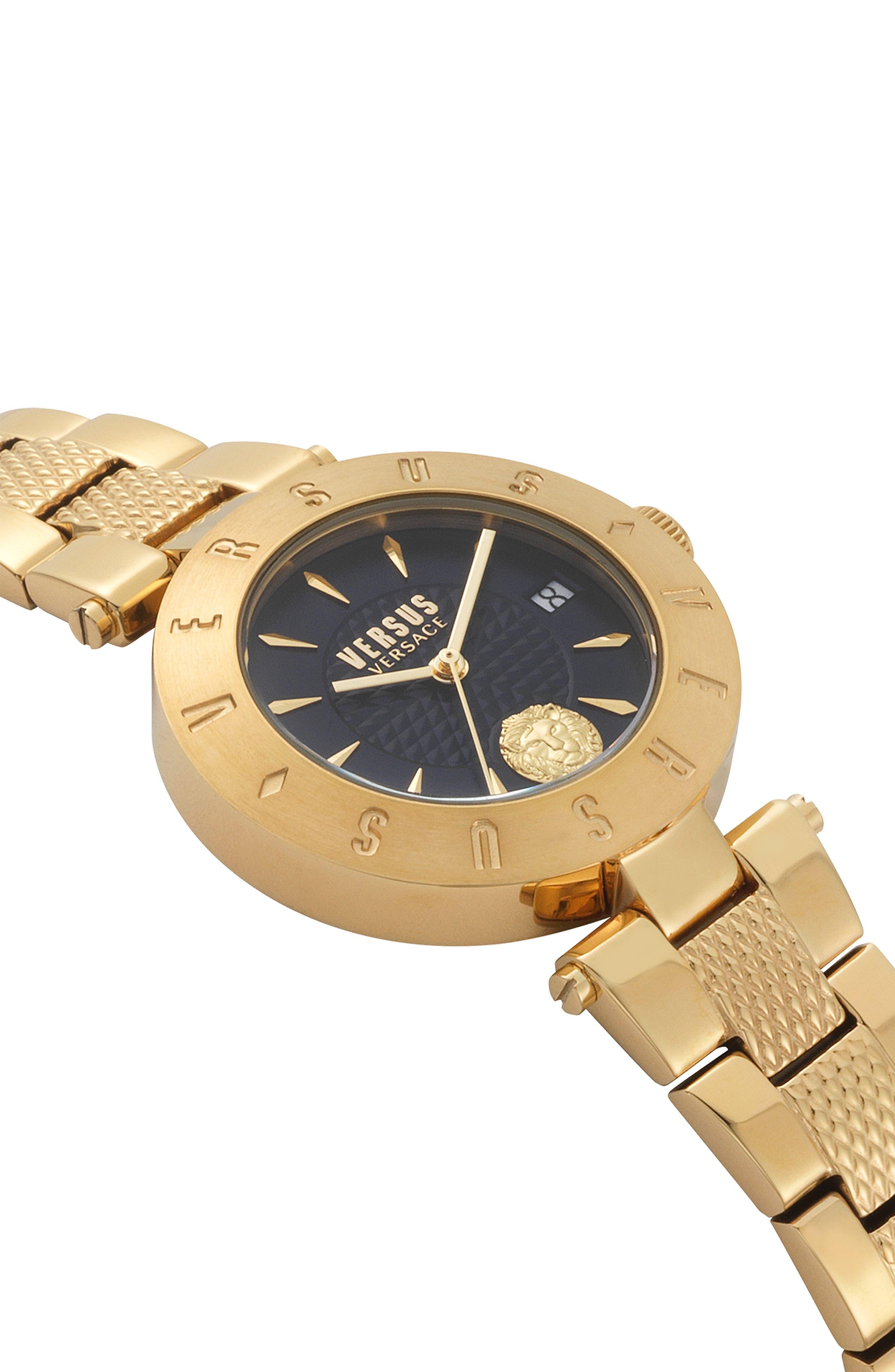VERSUS VERSACE, Logo Bracelet Watch, 34mm, Alternate thumbnail 3, color, GOLD/ BLUE