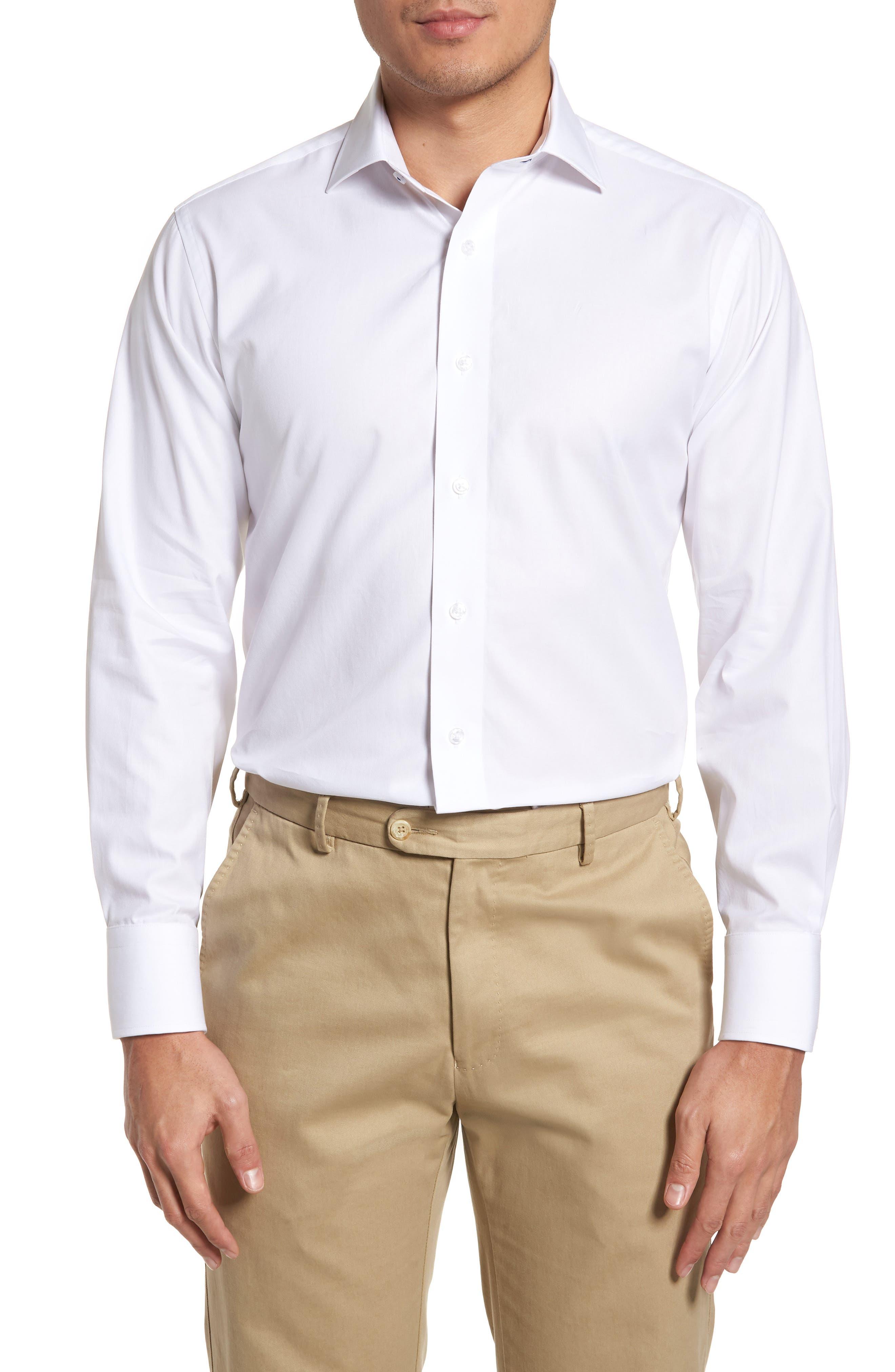 LORENZO UOMO, Trim Fit Solid Dress Shirt, Main thumbnail 1, color, WHITE