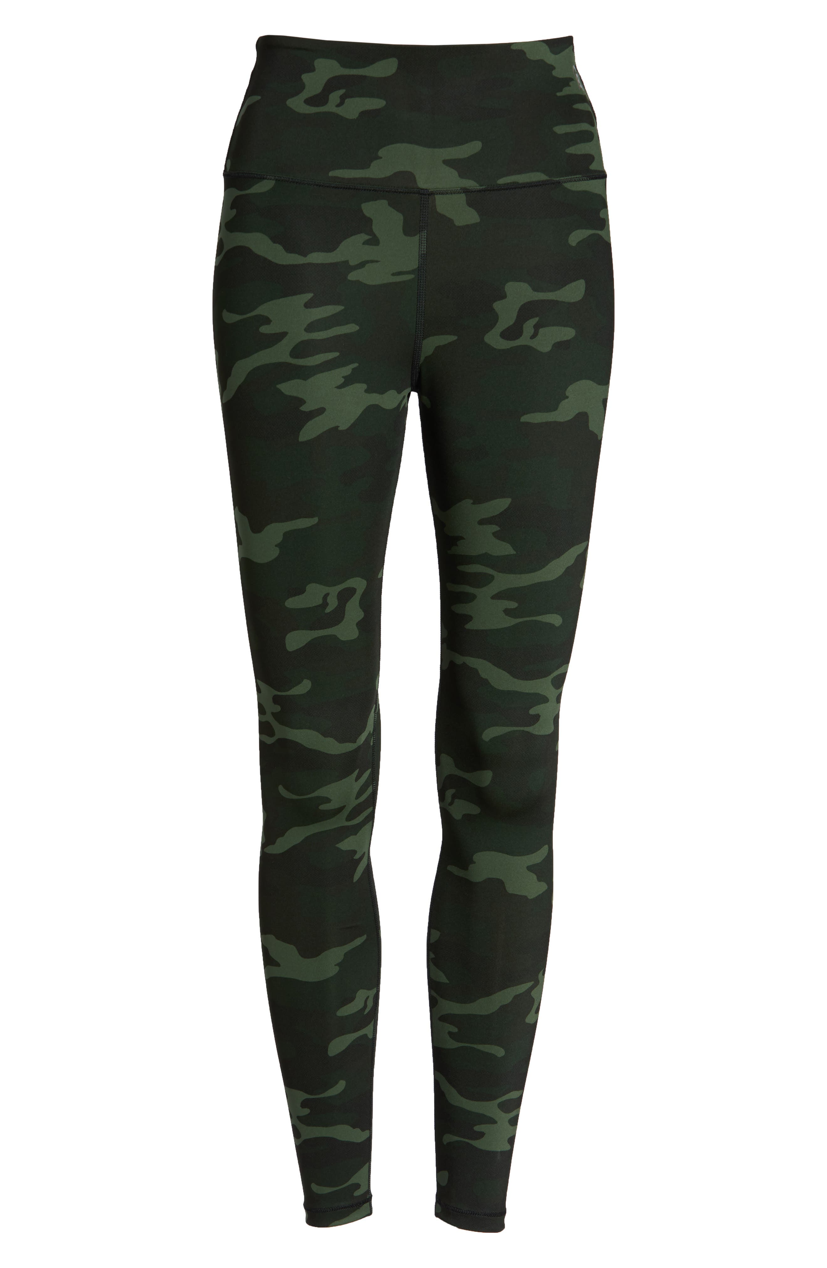 GOOD AMERICAN, Core Strength High Waist Leggings, Alternate thumbnail 7, color, CAMO001