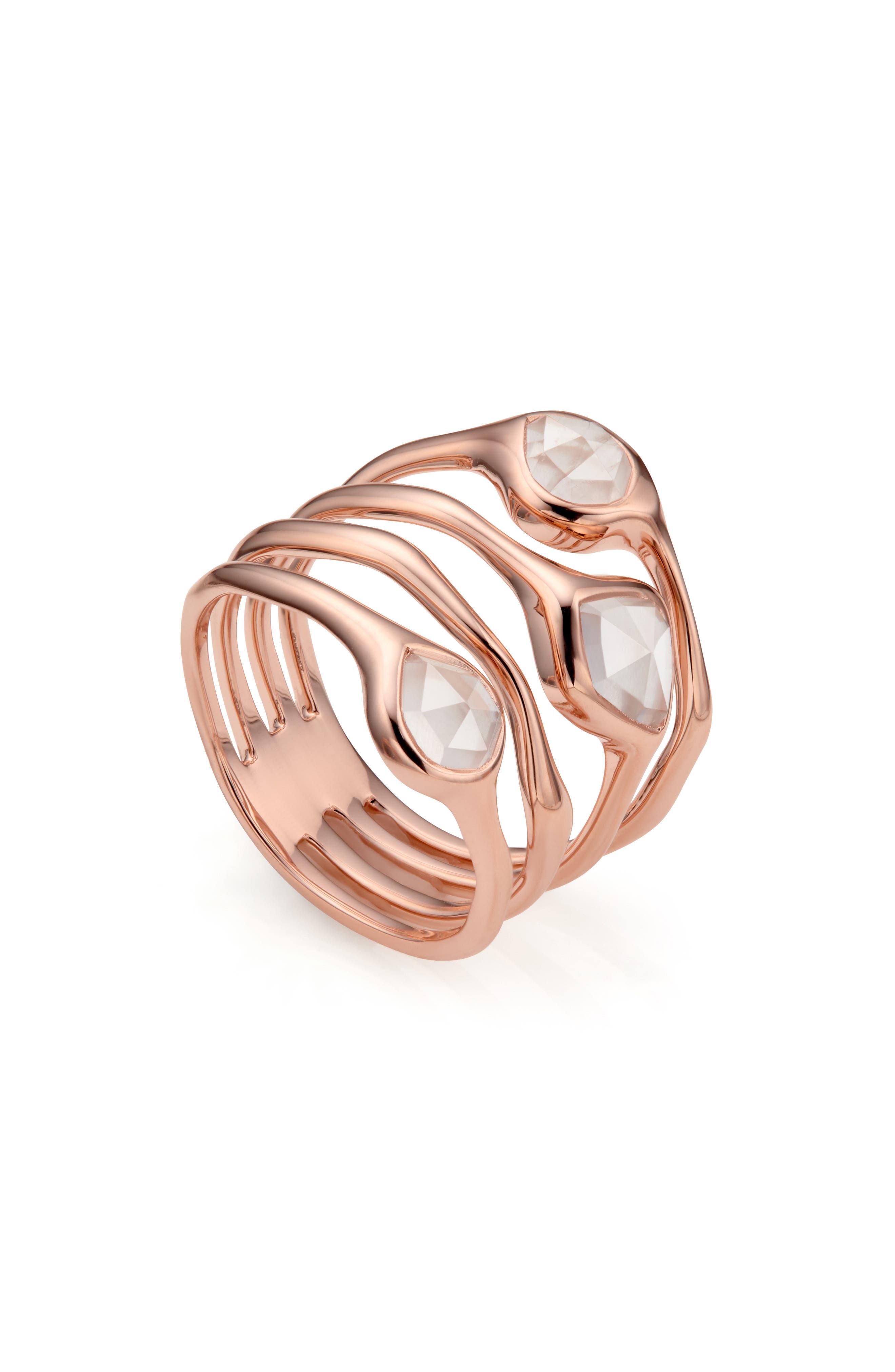 MONICA VINADER, Siren Cluster Cocktail Ring, Alternate thumbnail 3, color, ROSE GOLD/ ROSE QUARTZ