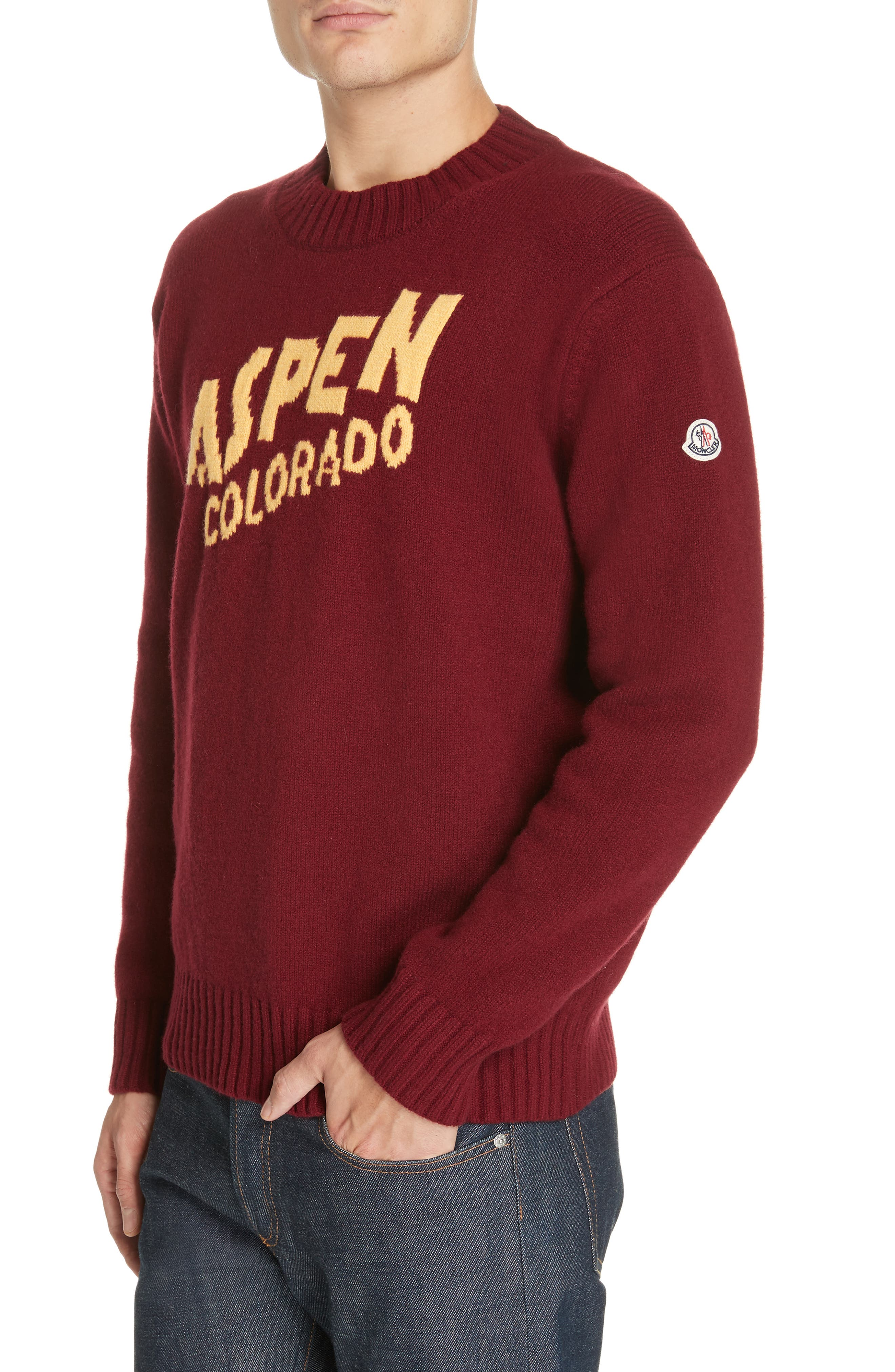 MONCLER, Maglione Cashmere Sweater, Main thumbnail 1, color, 601