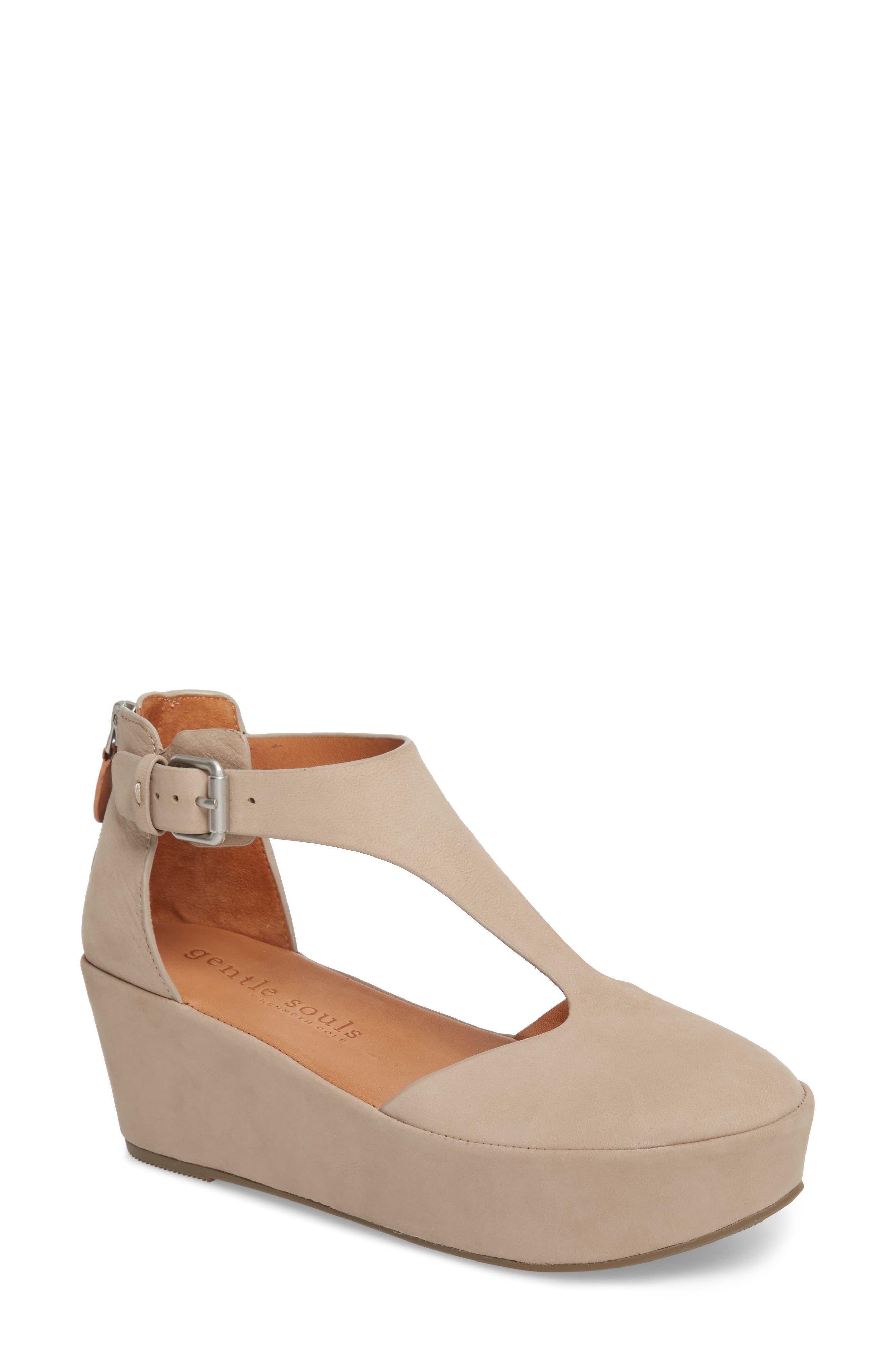 GENTLE SOULS BY KENNETH COLE Nydia Platform Sandal, Main, color, MUSHROOM NUBUCK
