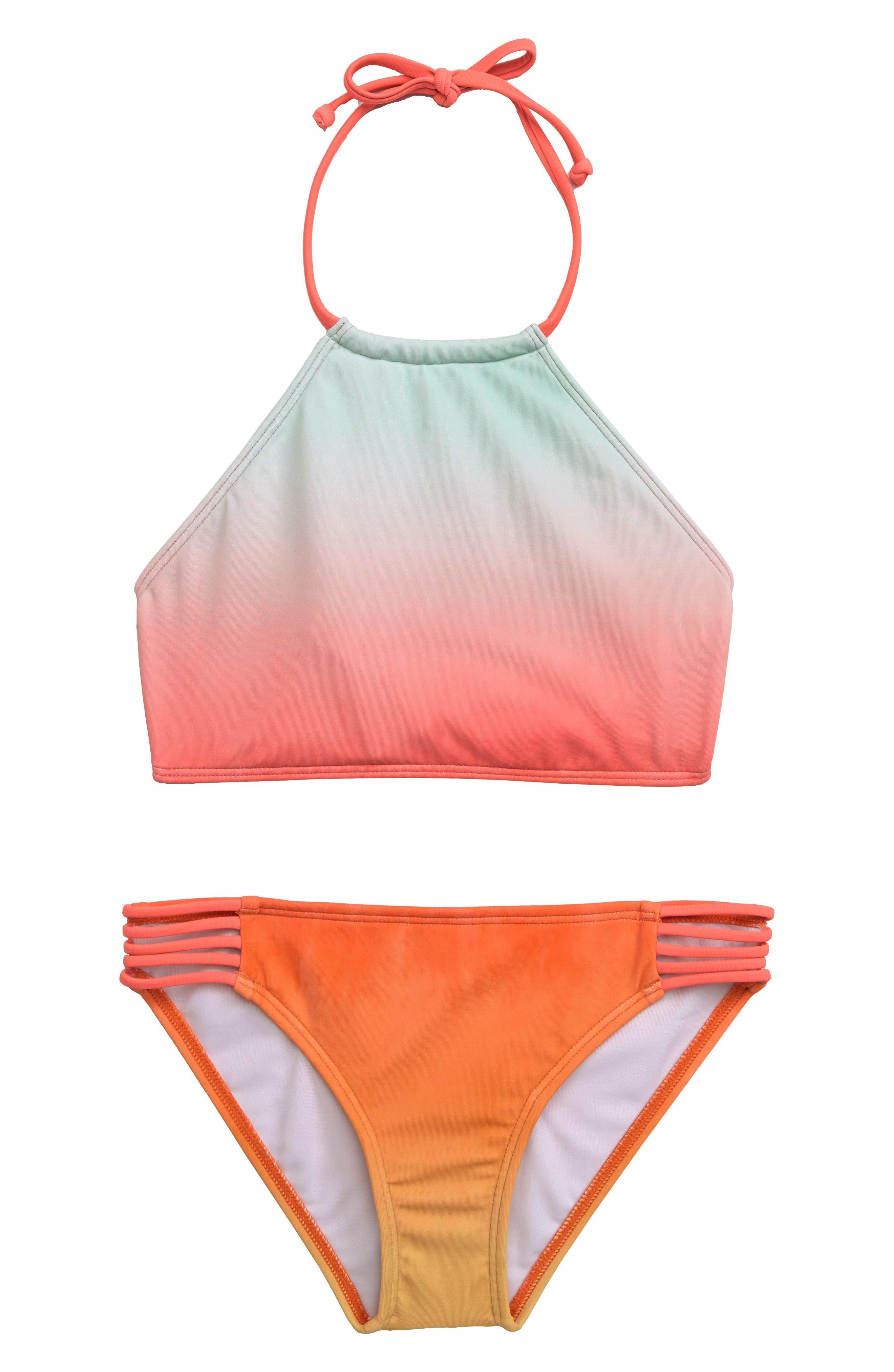 Girls Billabong Hazy Daze TwoPiece Swimsuit Size 6X  Coral