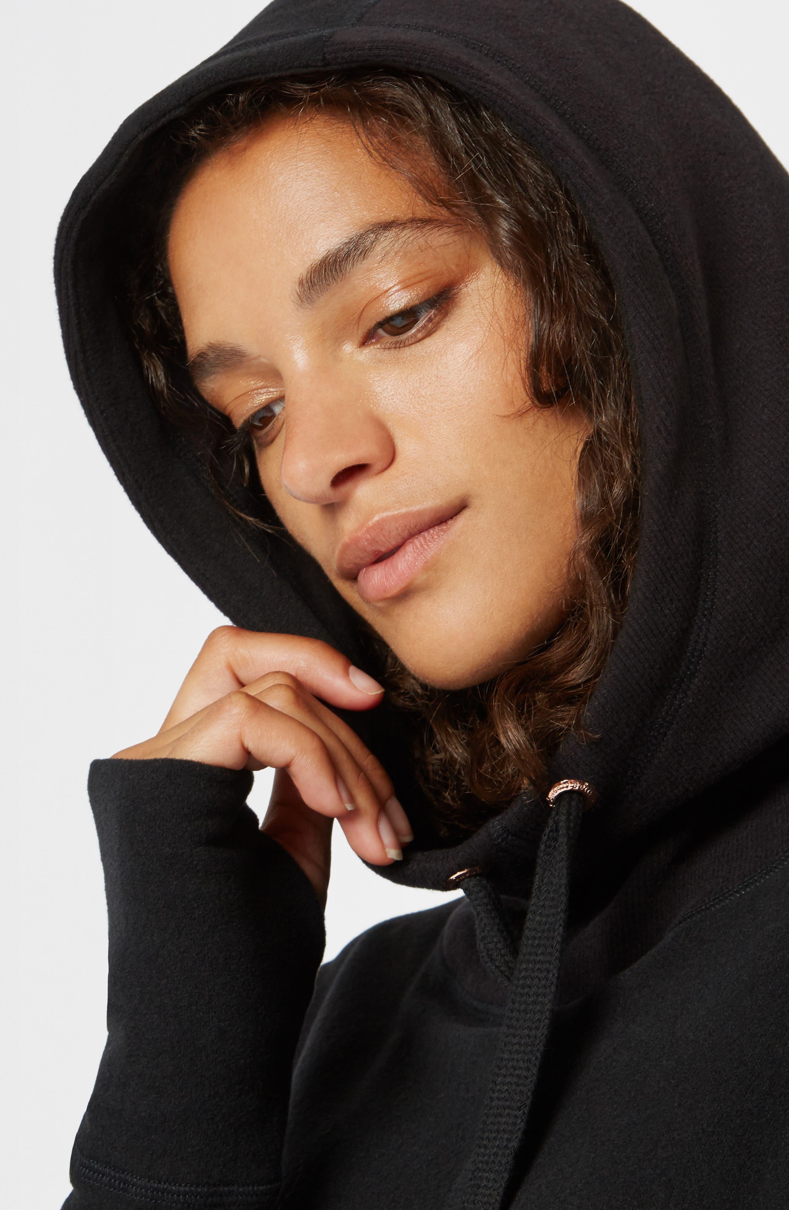 SWEATY BETTY, Invigorate Luxe Hoodie, Alternate thumbnail 7, color, BLACK