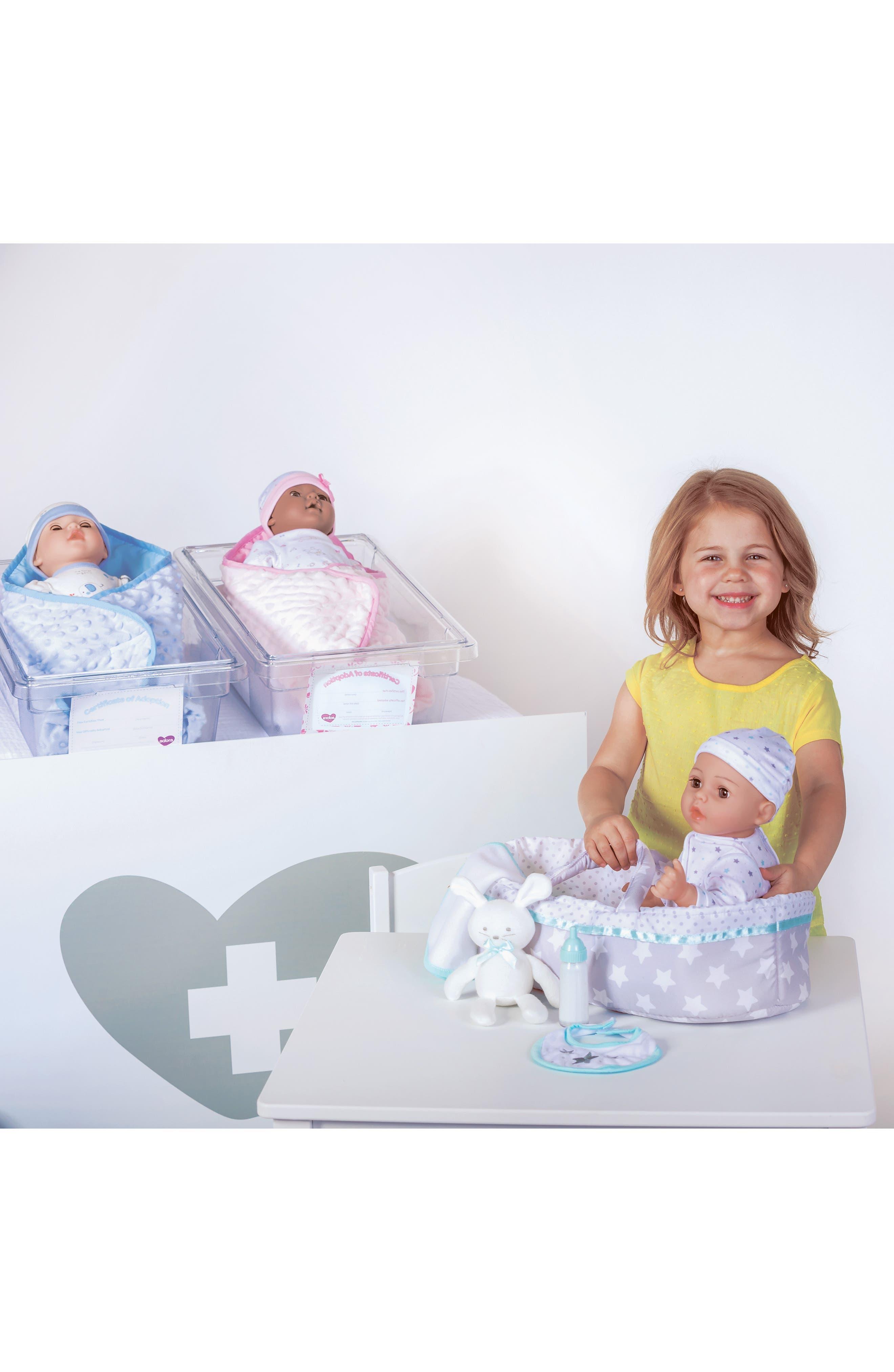 ADORA, Adoption 8-Piece Take Me Home Baby Doll Essentials Set, Alternate thumbnail 5, color, WHITE AND BLUE