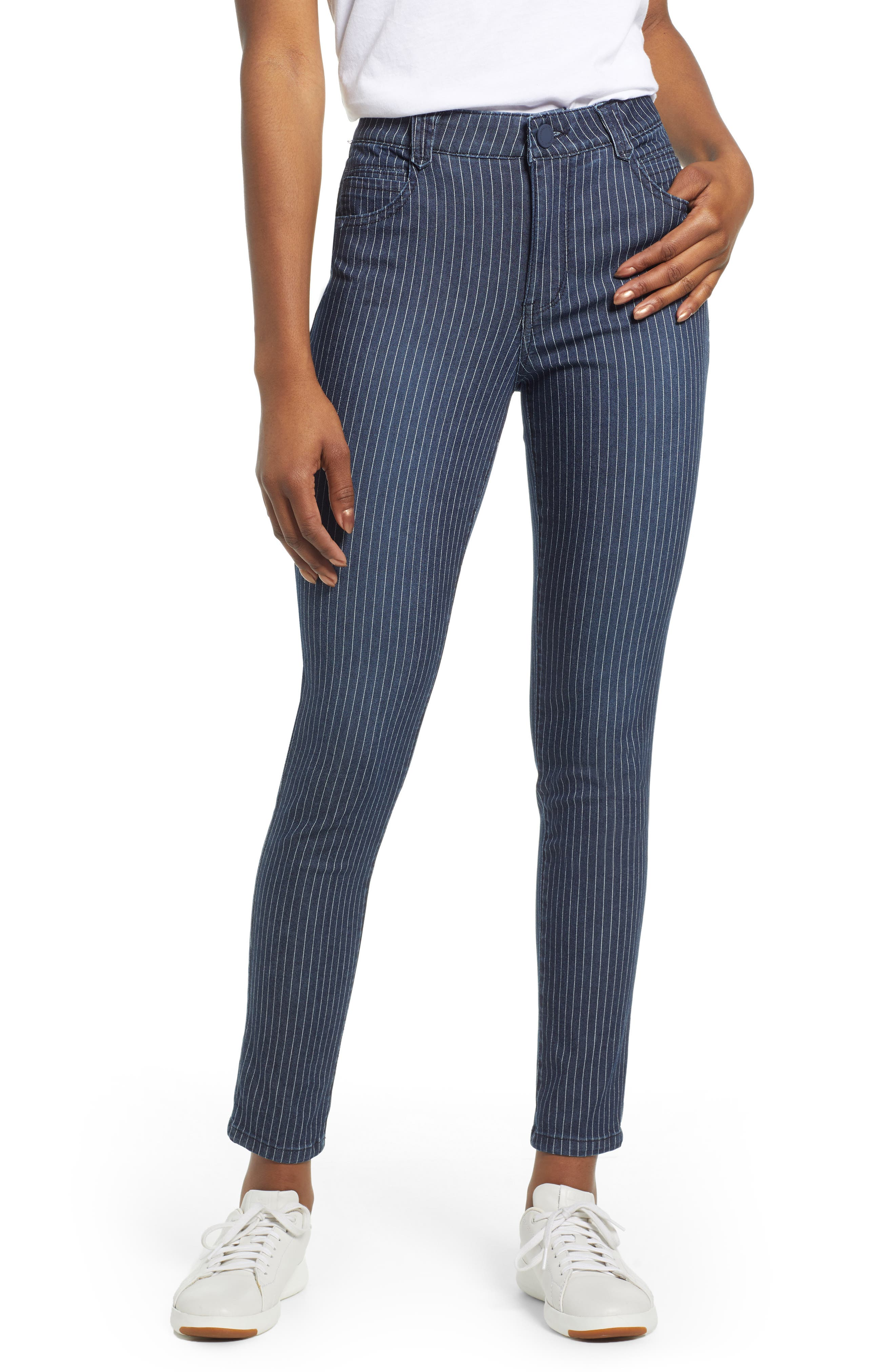 WIT & WISDOM Ab-Solution Stripe High Waist Crop Skinny Jeans, Main, color, INDIGO