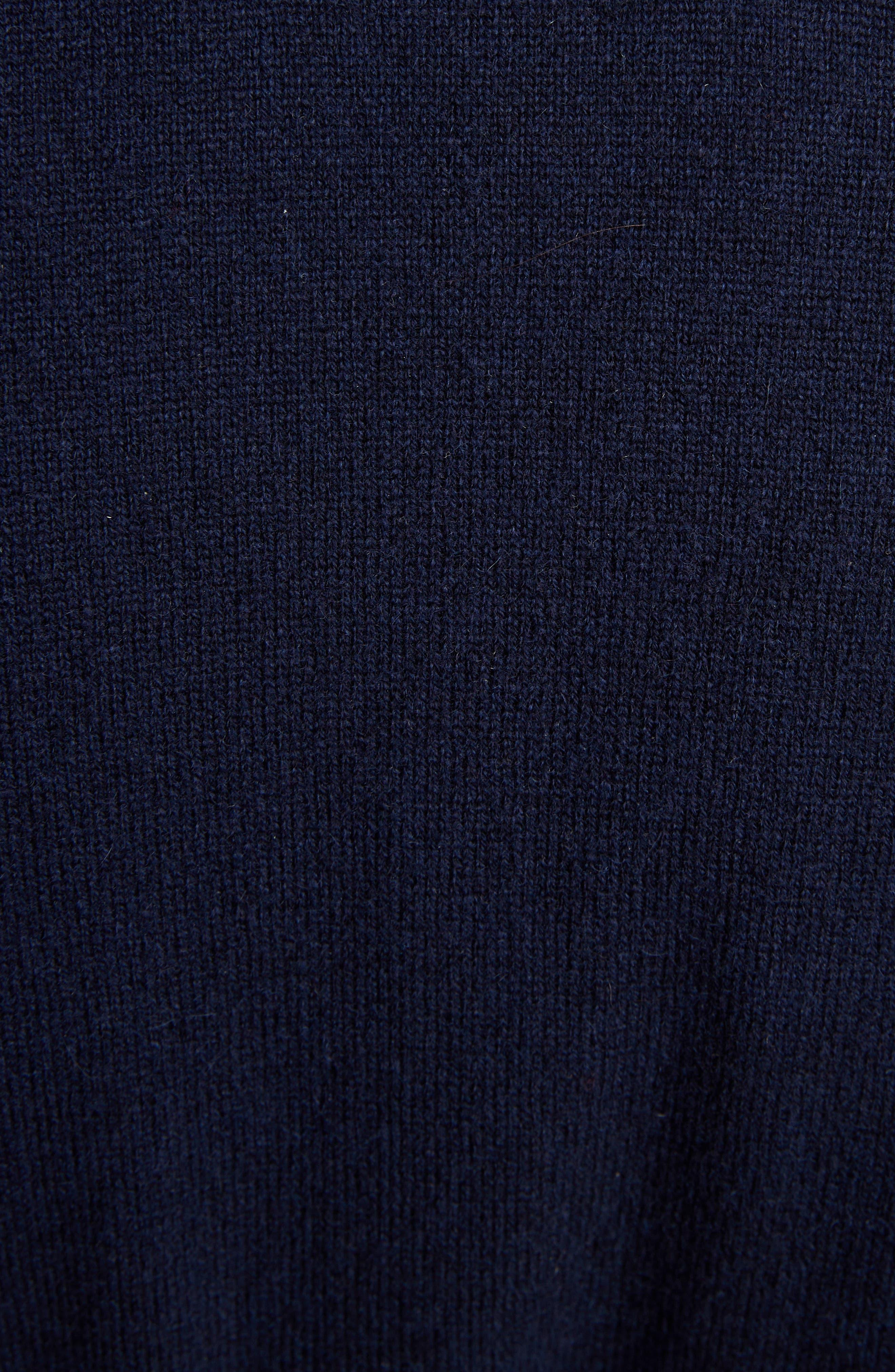 THOM BROWNE, 4-Bar Cashmere Long Cardigan, Alternate thumbnail 6, color, NAVY